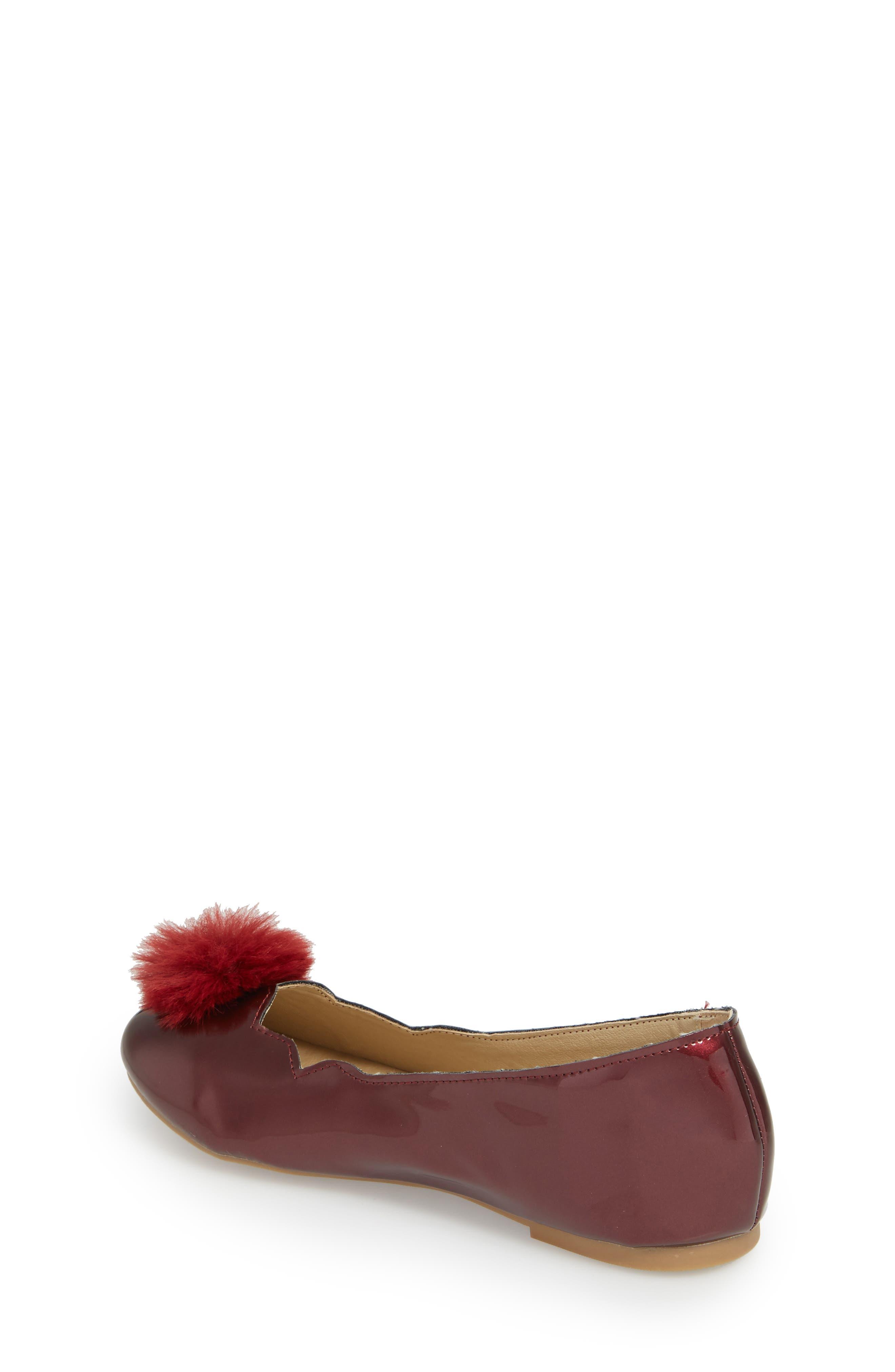 Felicia Anna Faux Fur Pom Flat,                             Alternate thumbnail 2, color,                             Maroon