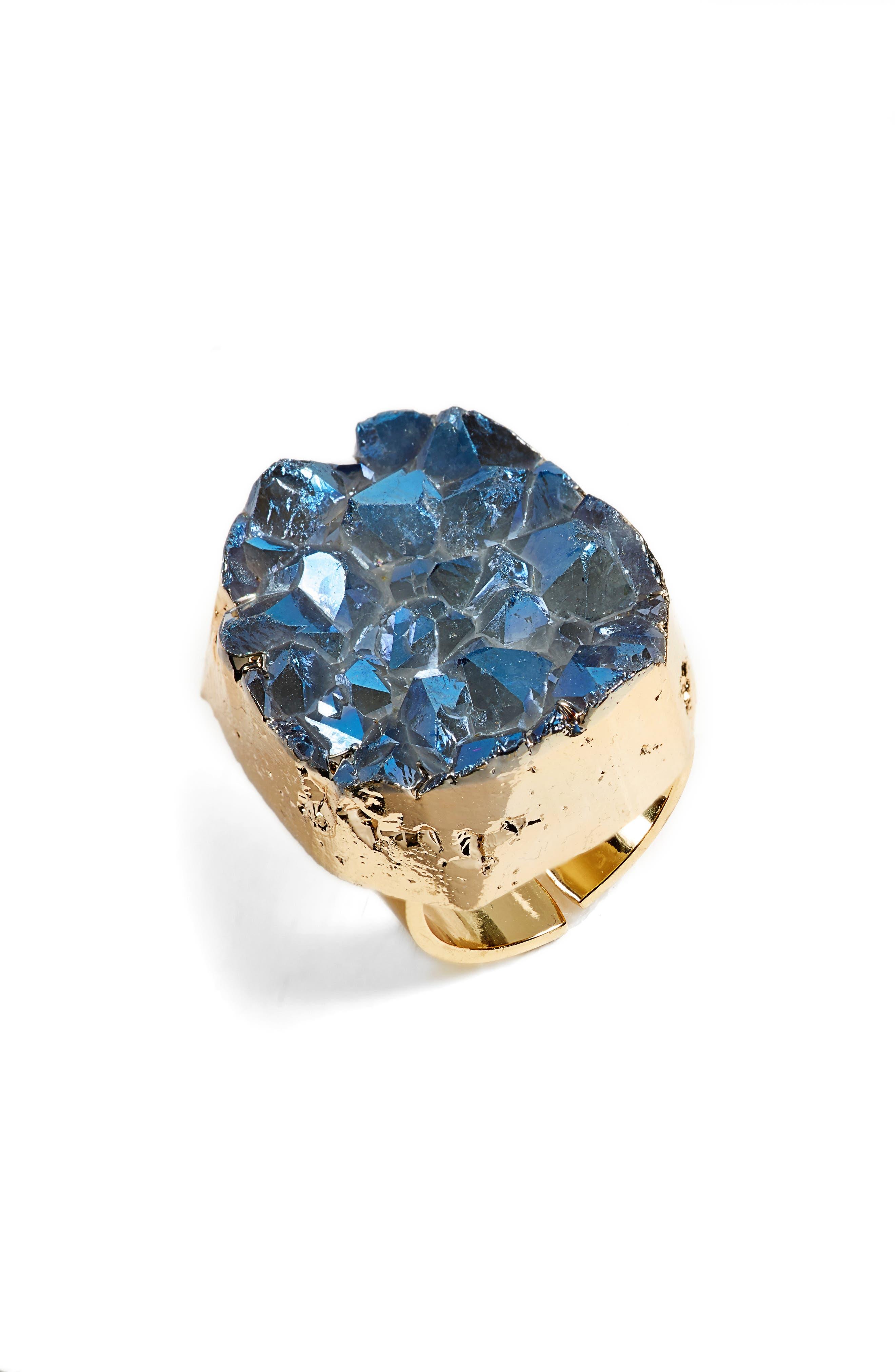 Elise M Noa Drusy Quartz Ring In Blue