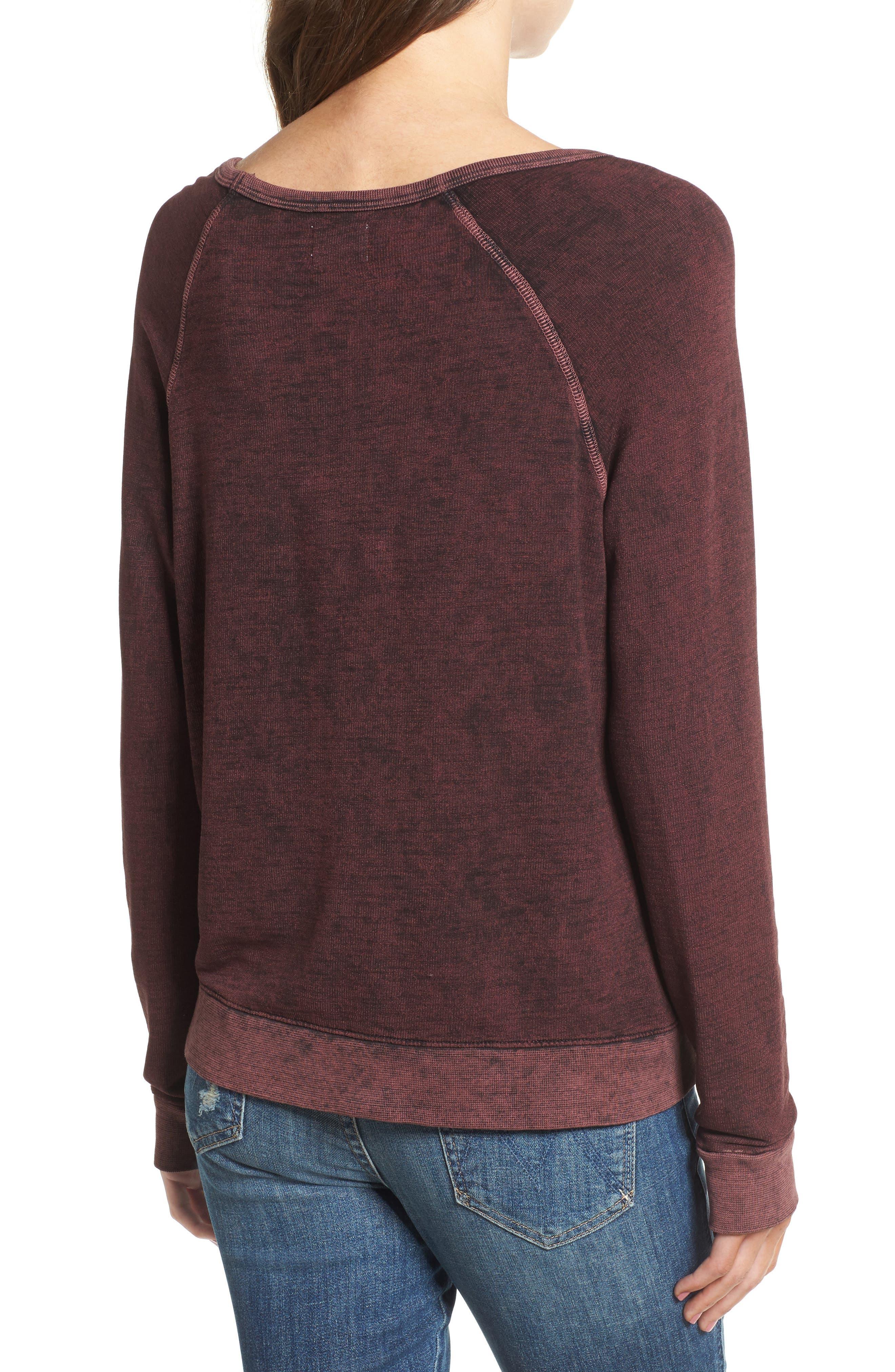 Active Winter Wonderland Sweatshirt,                             Alternate thumbnail 2, color,                             Burgundy Acid Wash