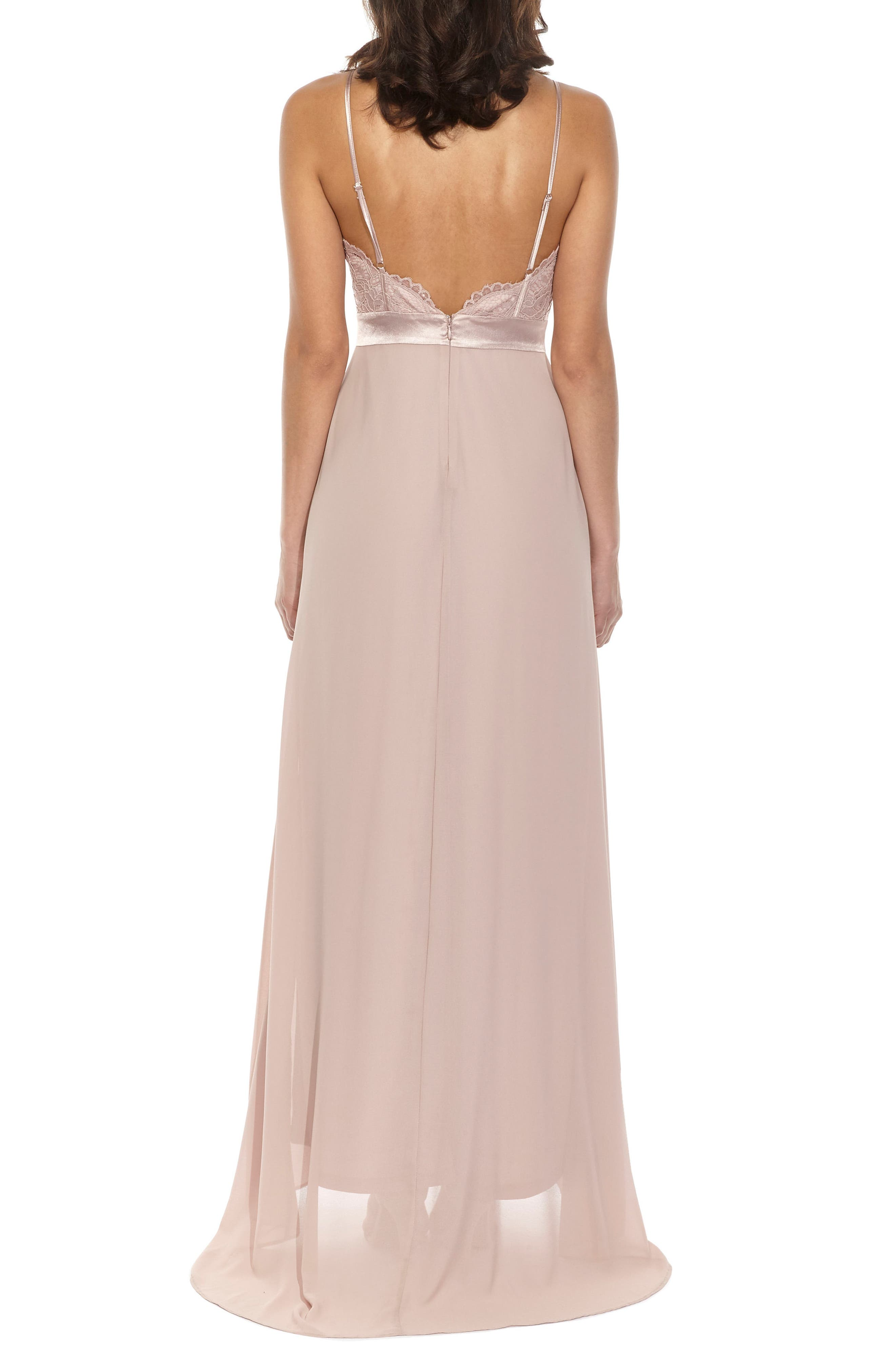 Cory Lace Bodice Gown,                             Alternate thumbnail 2, color,                             Pale Mauve