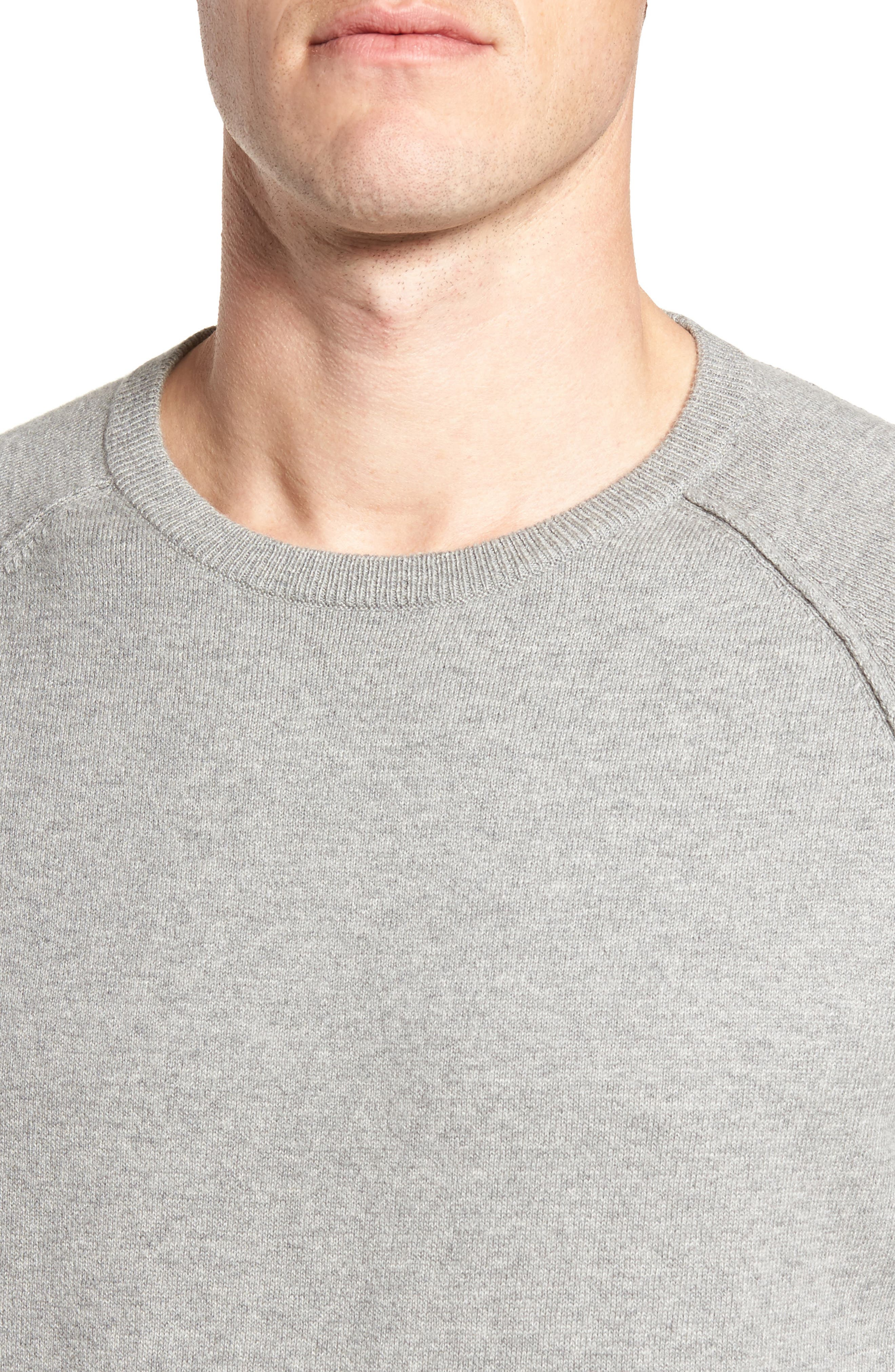 Saddle Shoulder Cotton & Cashmere Sweater,                             Alternate thumbnail 4, color,                             Grey Heather