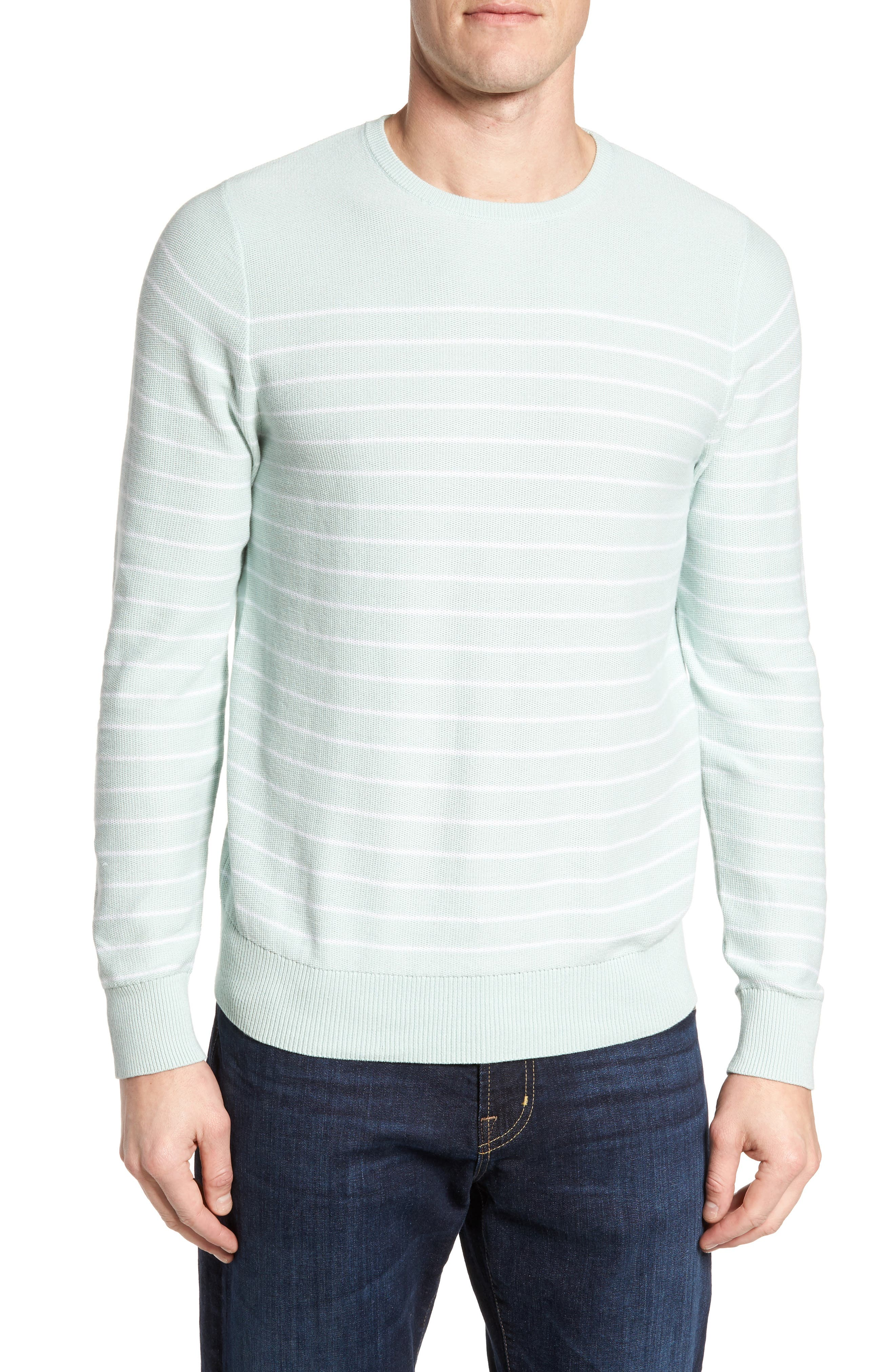 Stripe Cotton Sweater,                         Main,                         color, Teal Surf Stripe