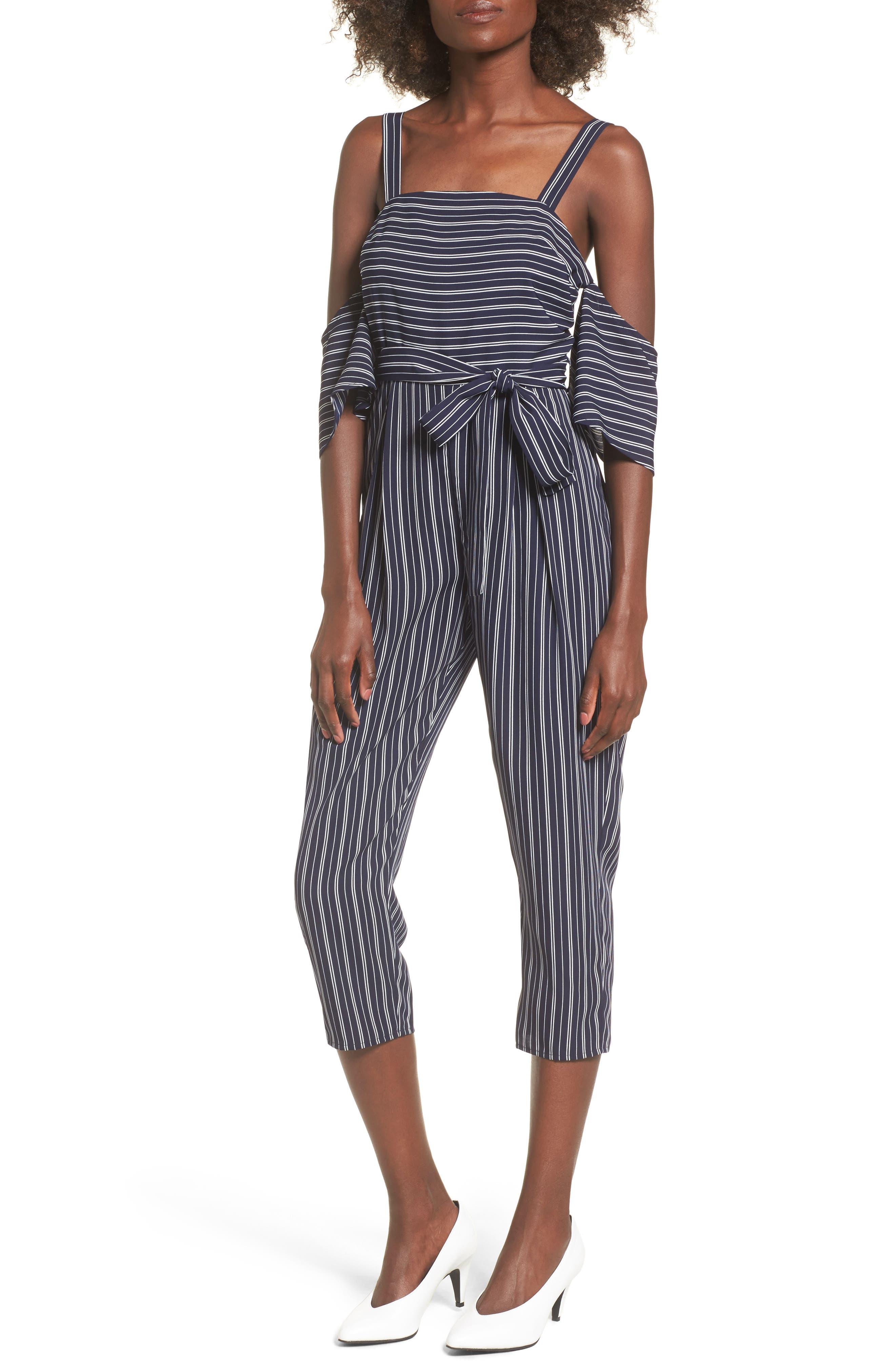 Stripe Off the Shoulder Crop Jumpsuit,                             Main thumbnail 1, color,                             Navy Ivory Stripe