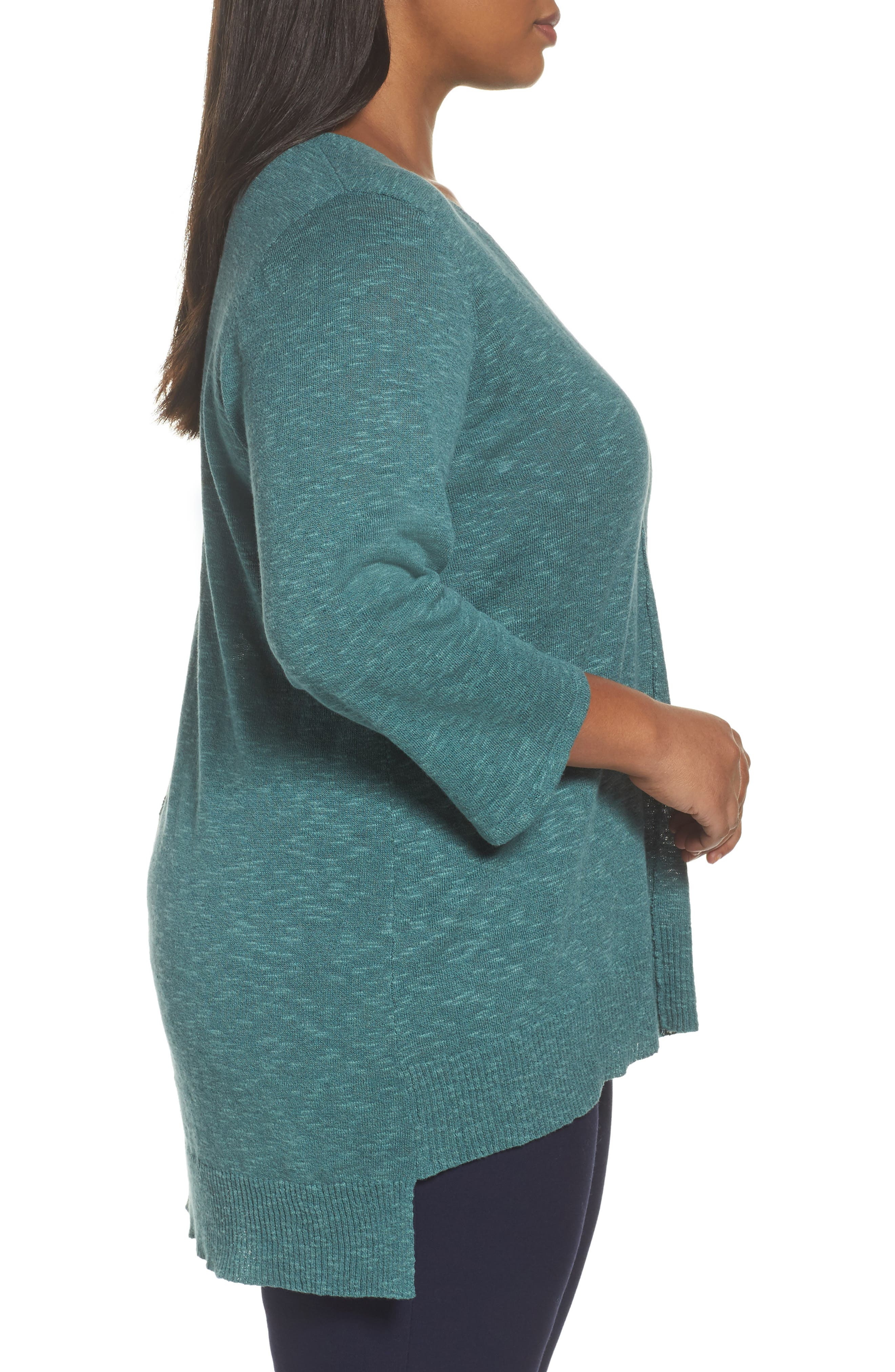 Alternate Image 3  - Eileen Fisher Organic Linen & Cotton High/Low Sweater (Plus Size)