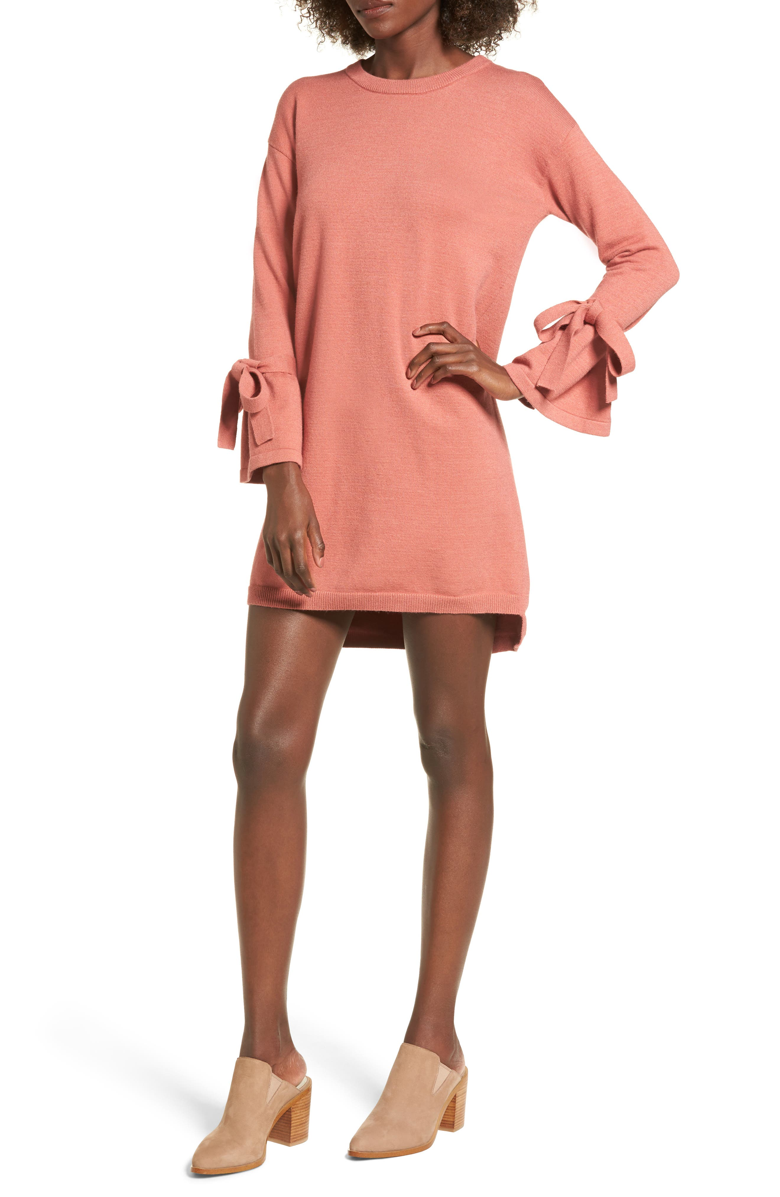 Tie Sleeve Sweater Dress,                         Main,                         color, Pink Desert