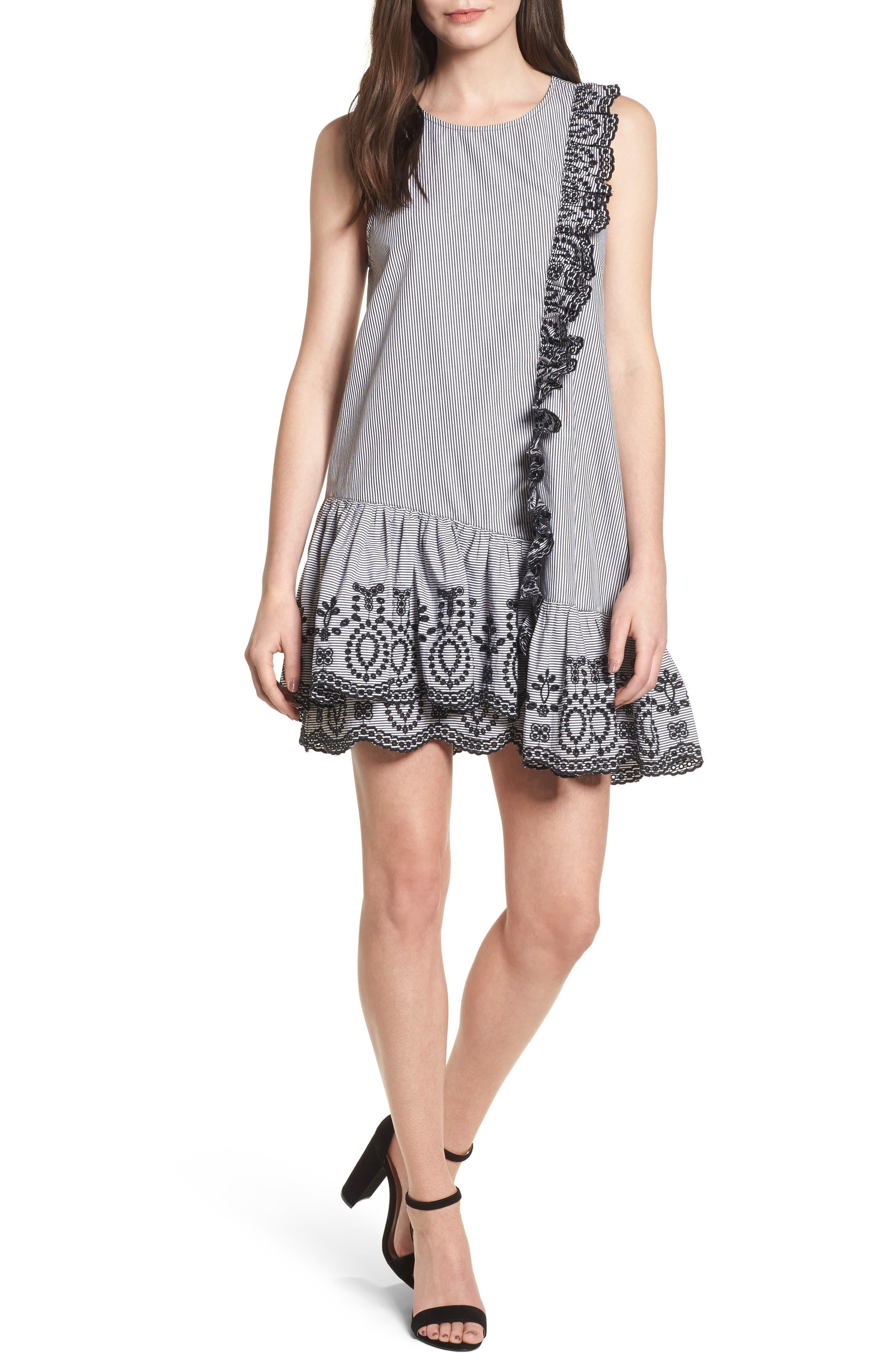 Lace Trim Drop Waist Dress,                             Main thumbnail 1, color,                             Black Jenny Stripe