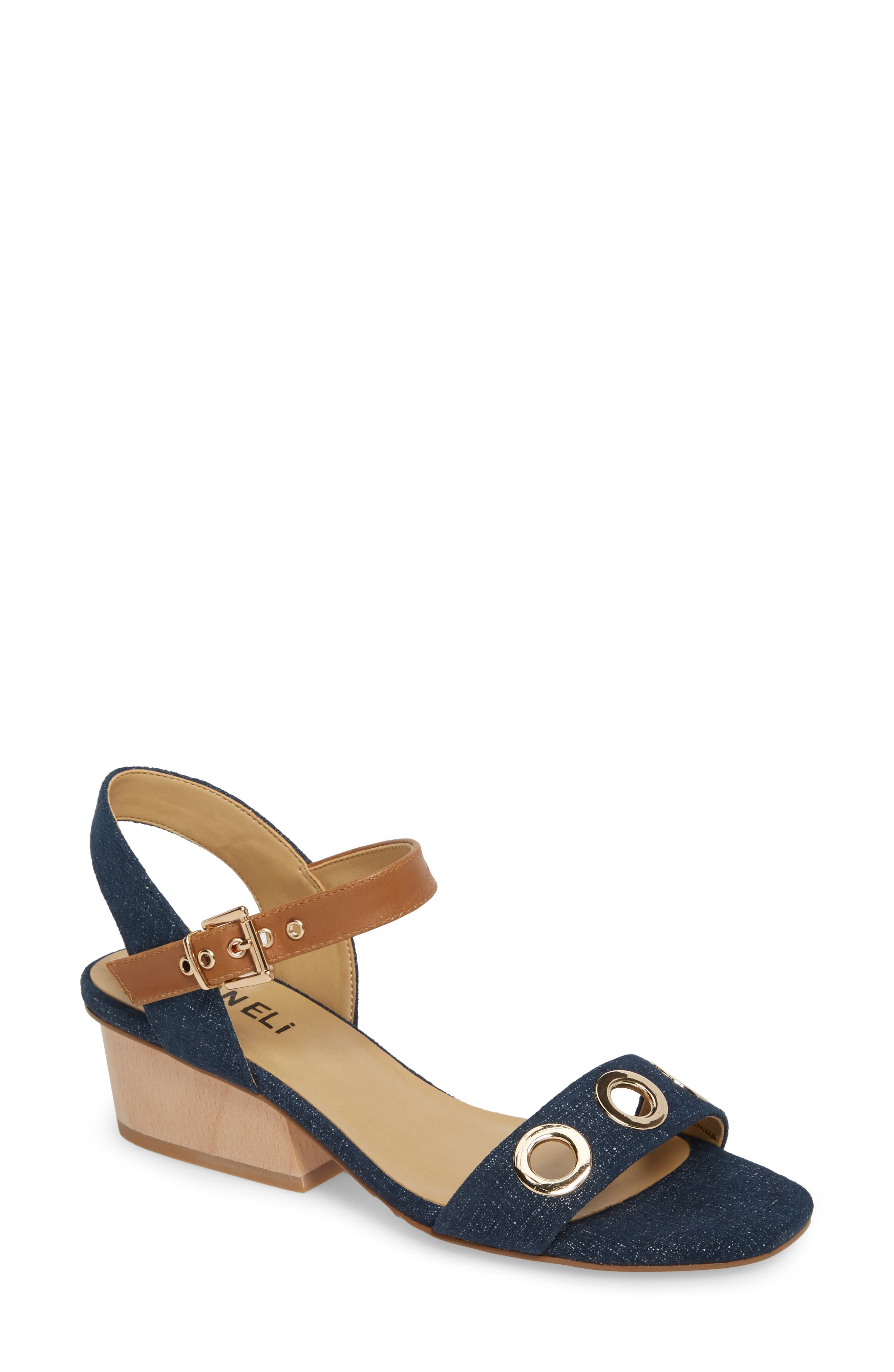 Chaddy Sandal,                             Main thumbnail 1, color,                             Jeans Printed Suede