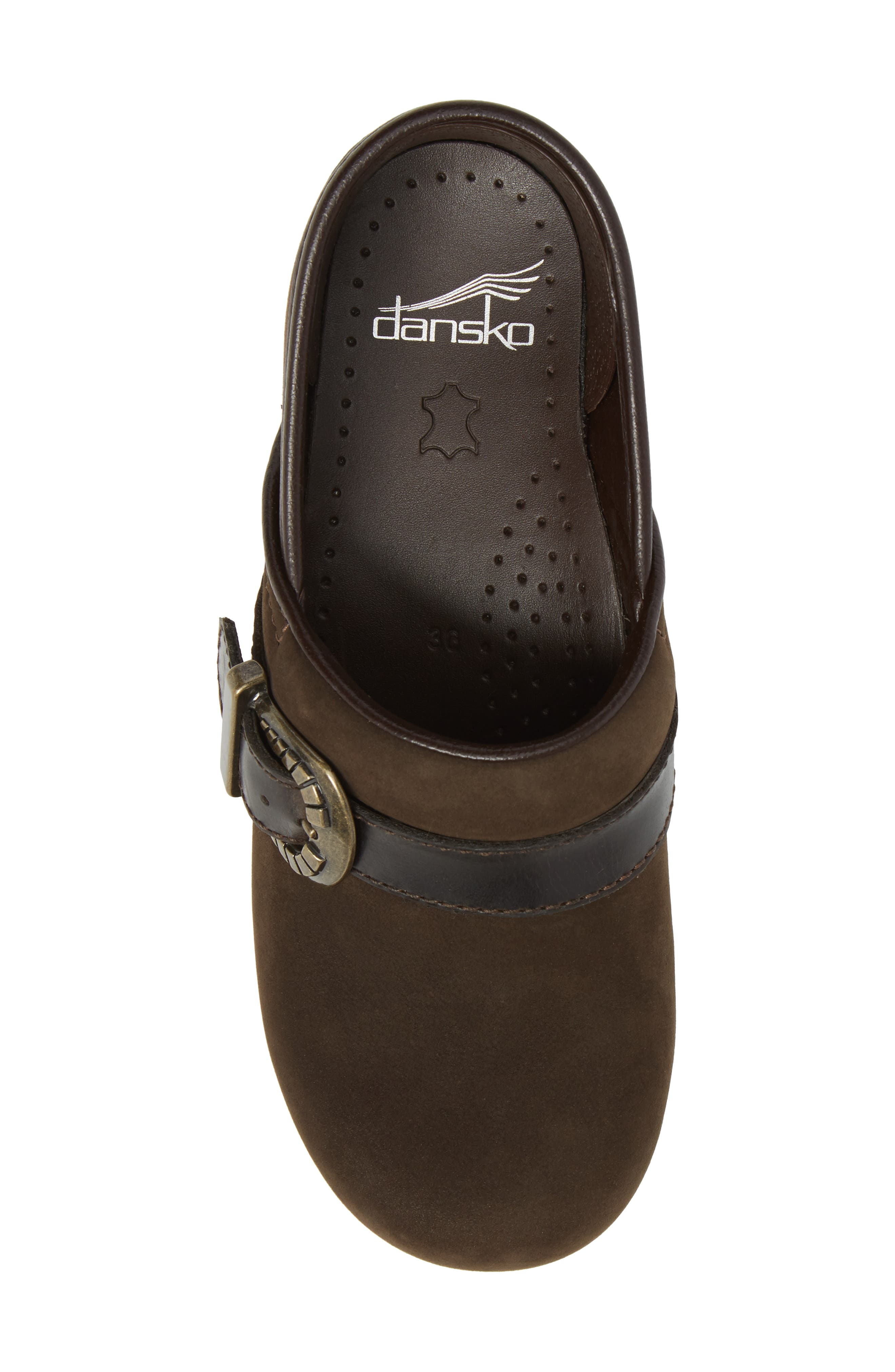 Pammy Clog,                             Alternate thumbnail 5, color,                             Brown Milled Nubuck Leather