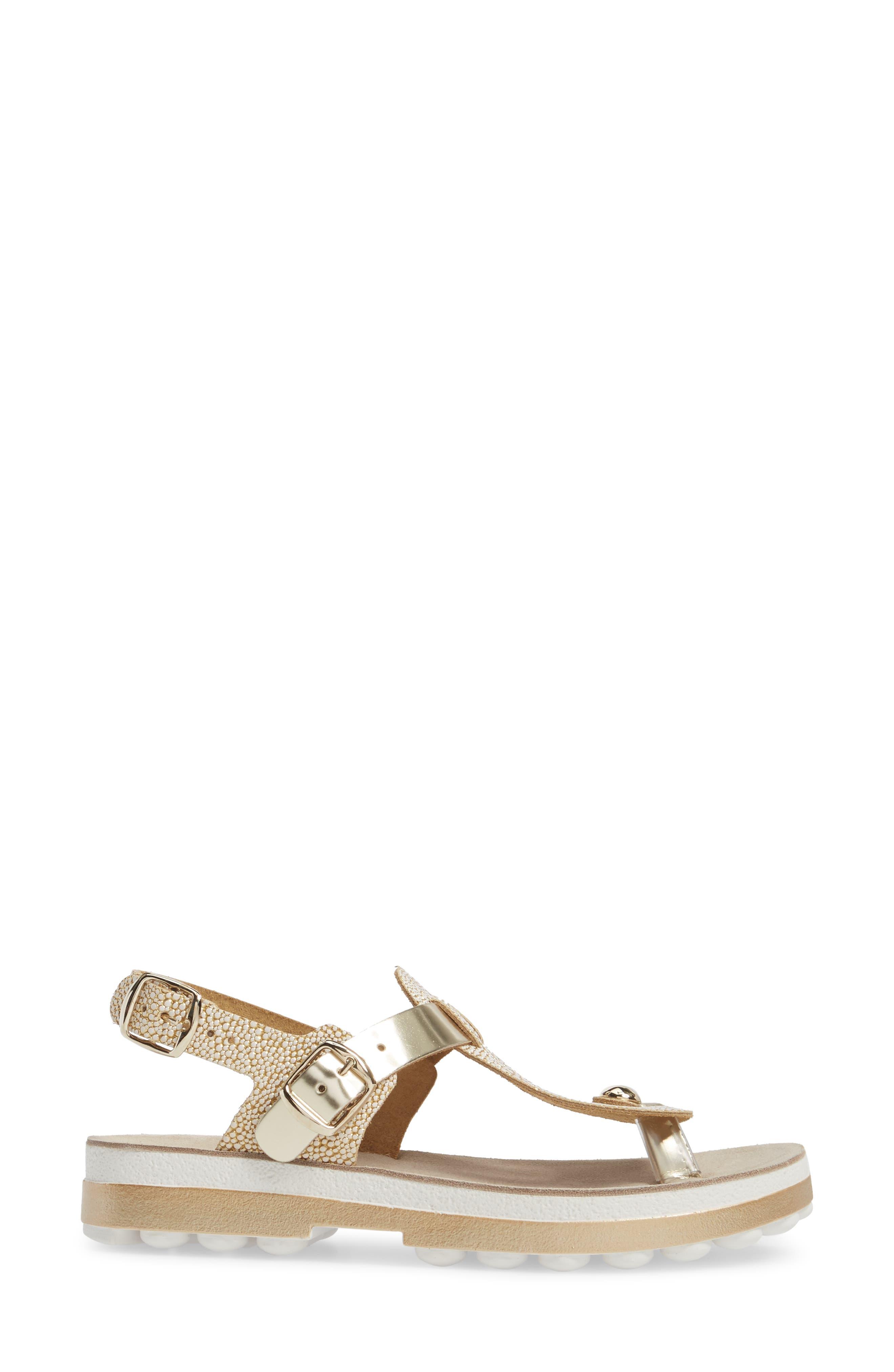 Marlena Fantasy Sandal,                             Alternate thumbnail 3, color,                             Gold Caviar Leather