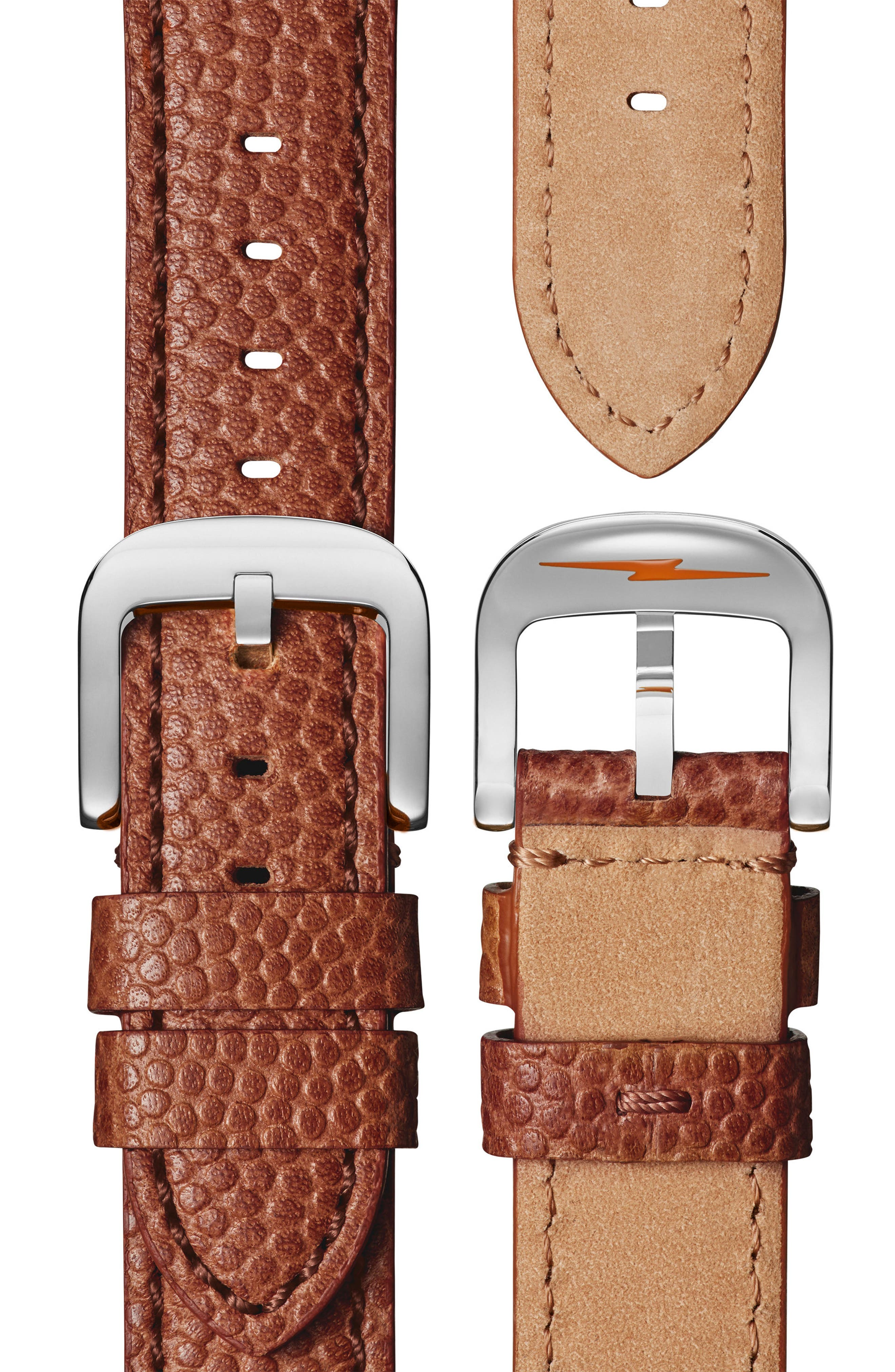 'The Runwell' Leather Strap Watch, 41mm,                             Alternate thumbnail 3, color,                             Brown/ Orange/ Silver