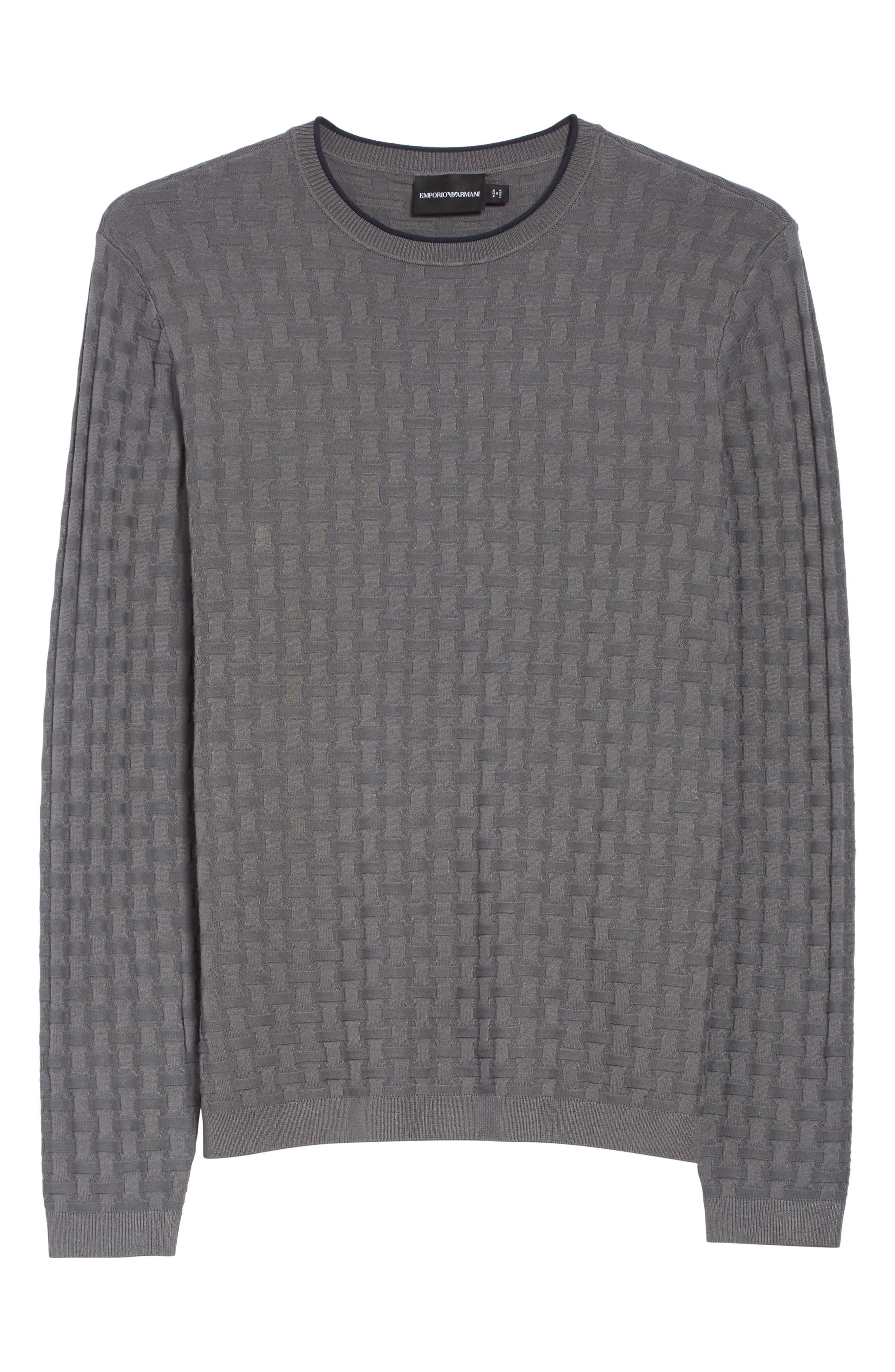 Alternate Image 6  - Emporio Armani Slim Fit Woven Links Sweater