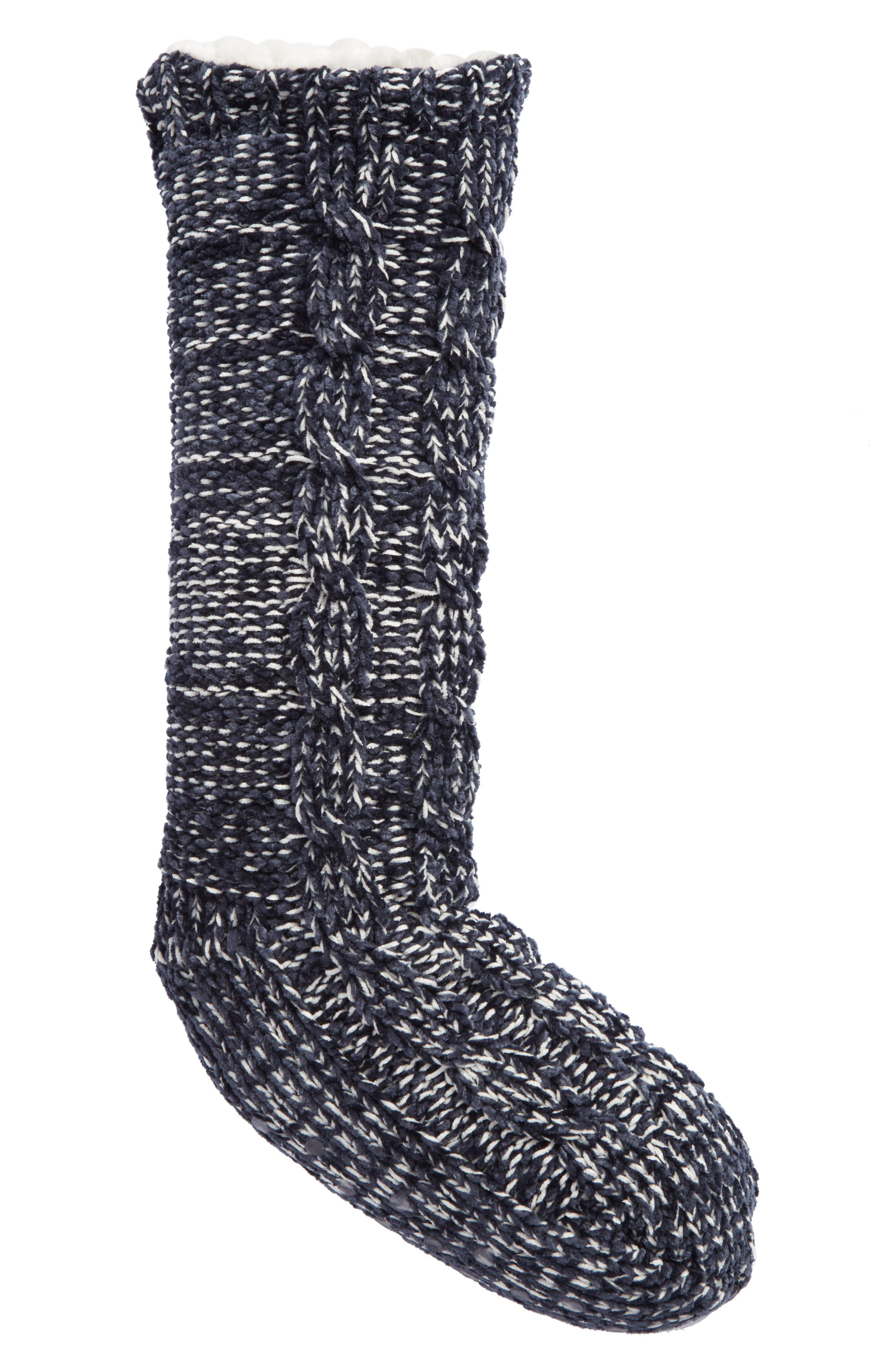 Cable Knit Slipper Socks,                             Main thumbnail 1, color,                             Navy