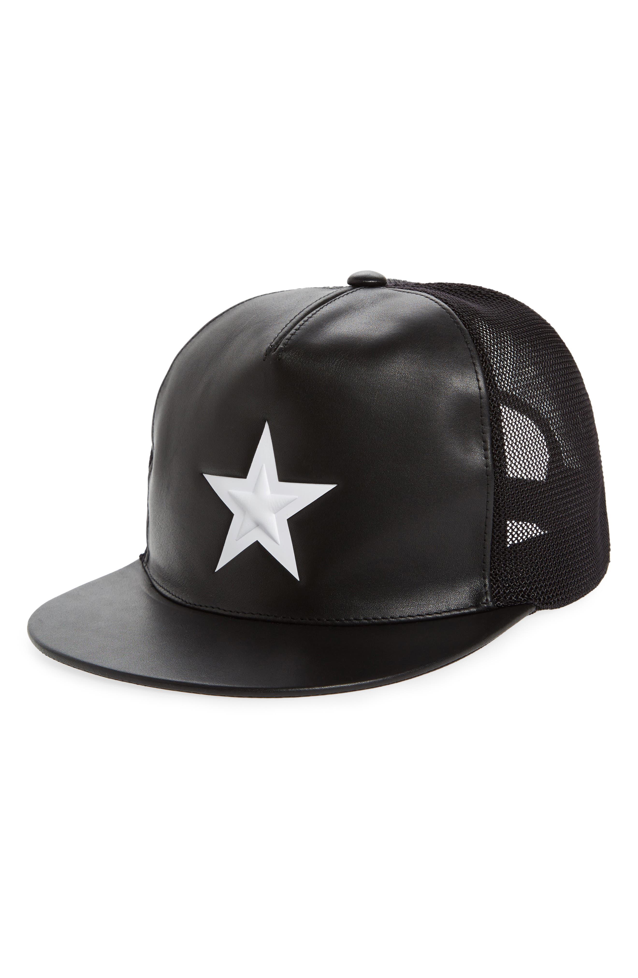 Star Leather Trucker Cap,                         Main,                         color, Black/White