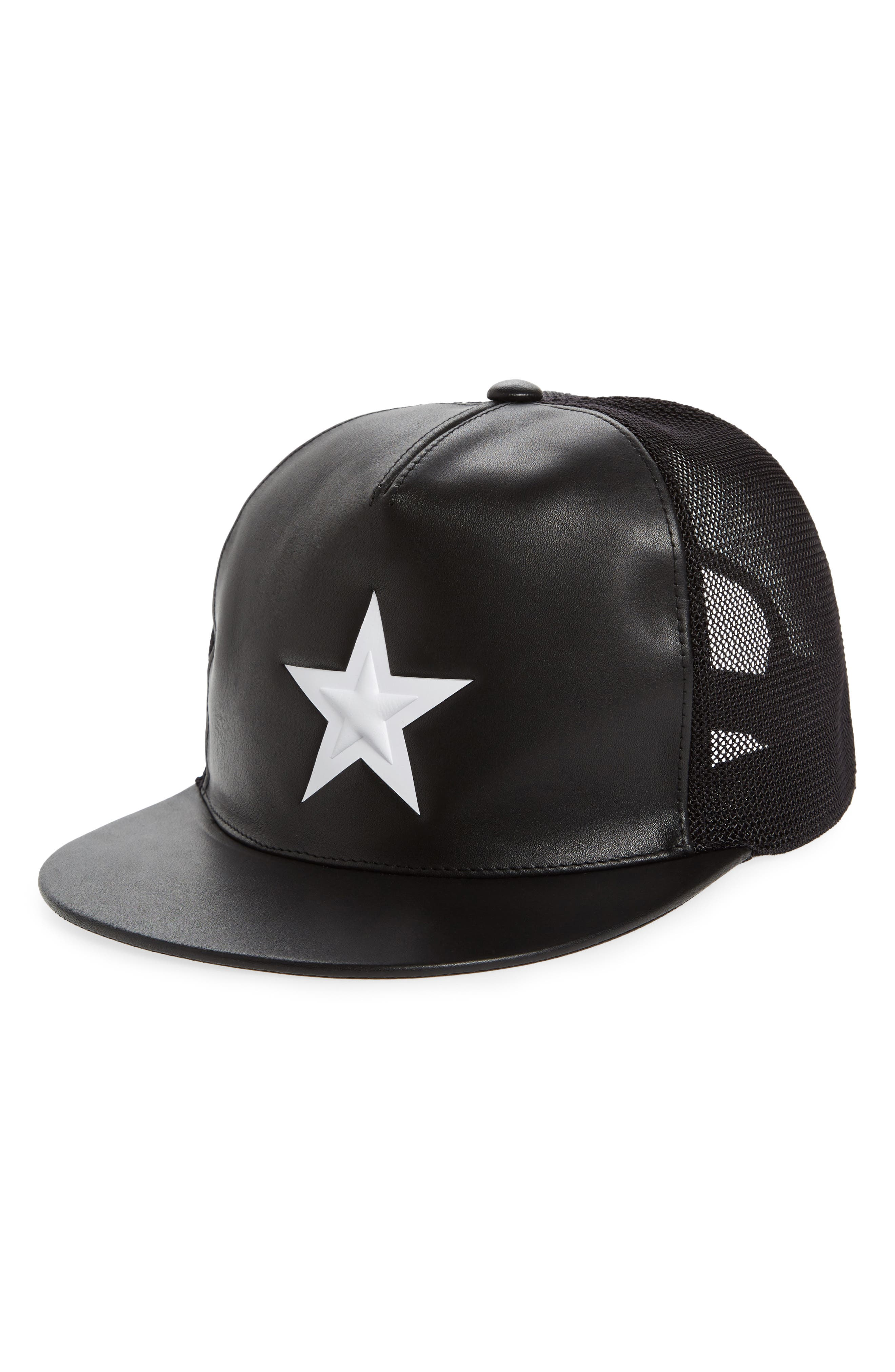 Star Leather Trucker Cap,                         Main,                         color, Black/White