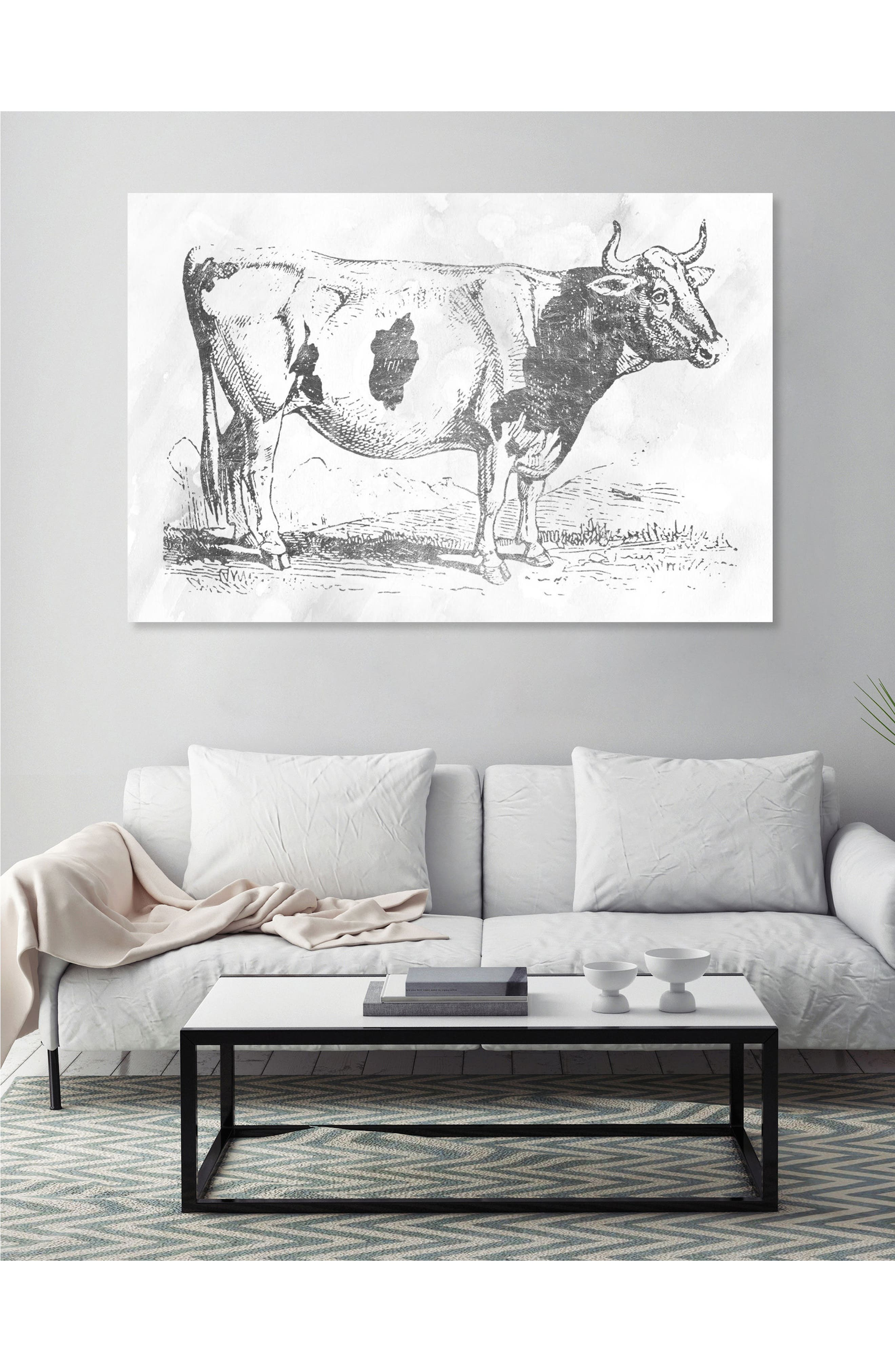 Alternate Image 2  - Oliver Gal Silver Cow Canvas Wall Art
