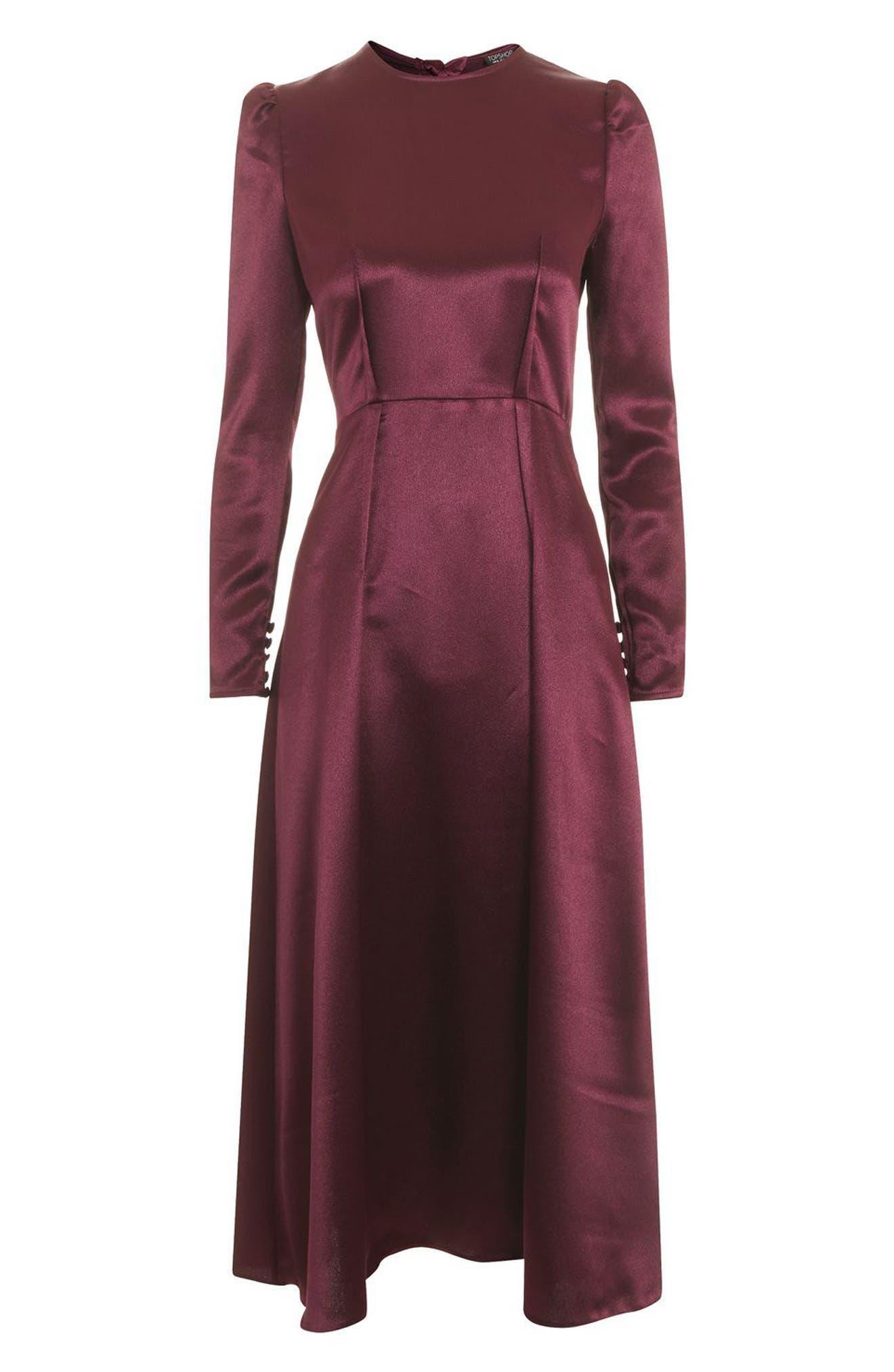 Shimmer Satin Tie Back Midi Dress,                             Alternate thumbnail 4, color,                             Burgundy