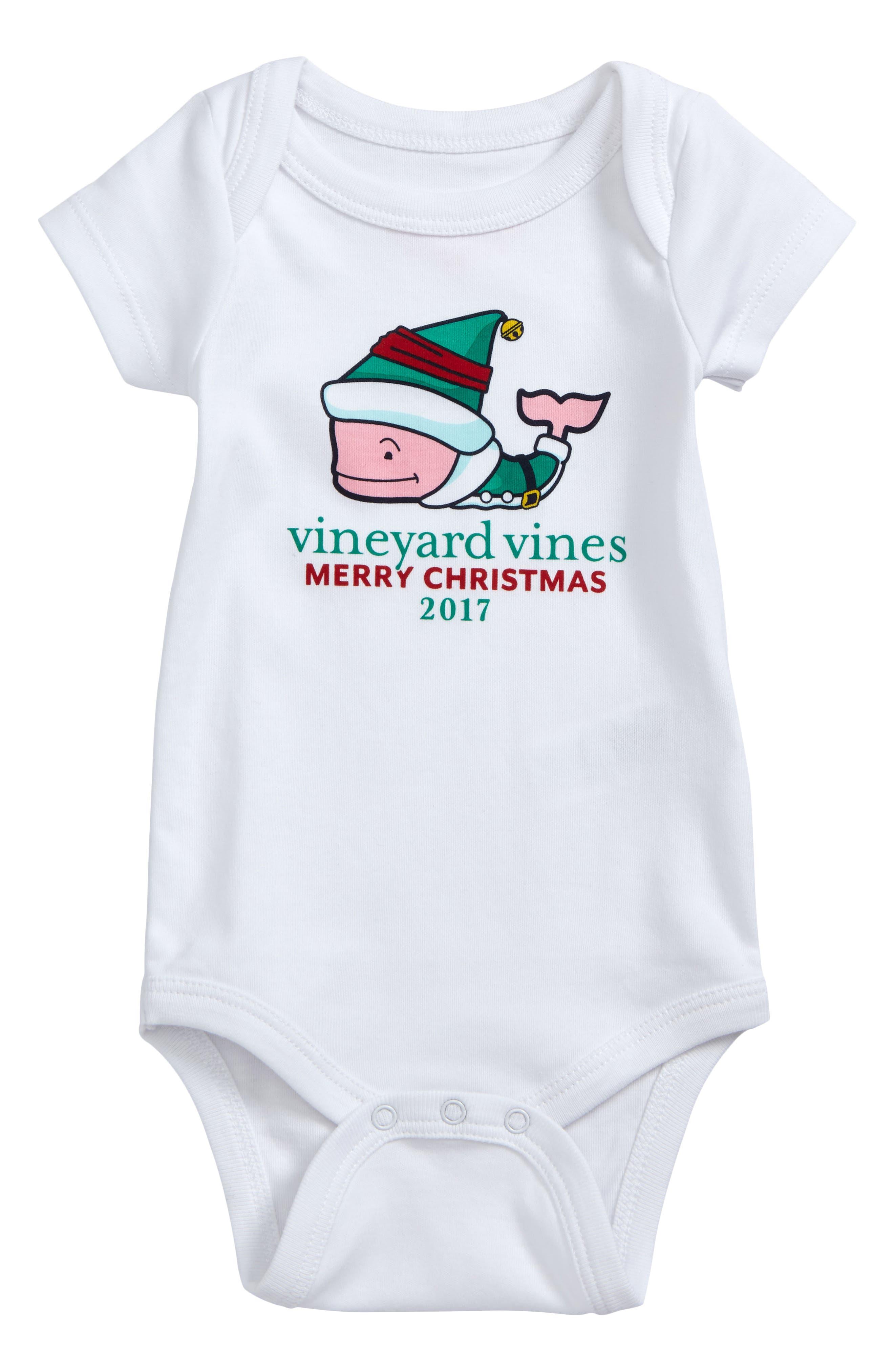 Main Image - vineyard vines Elf Whale Merry Christmas 2017 Bodysuit (Baby)