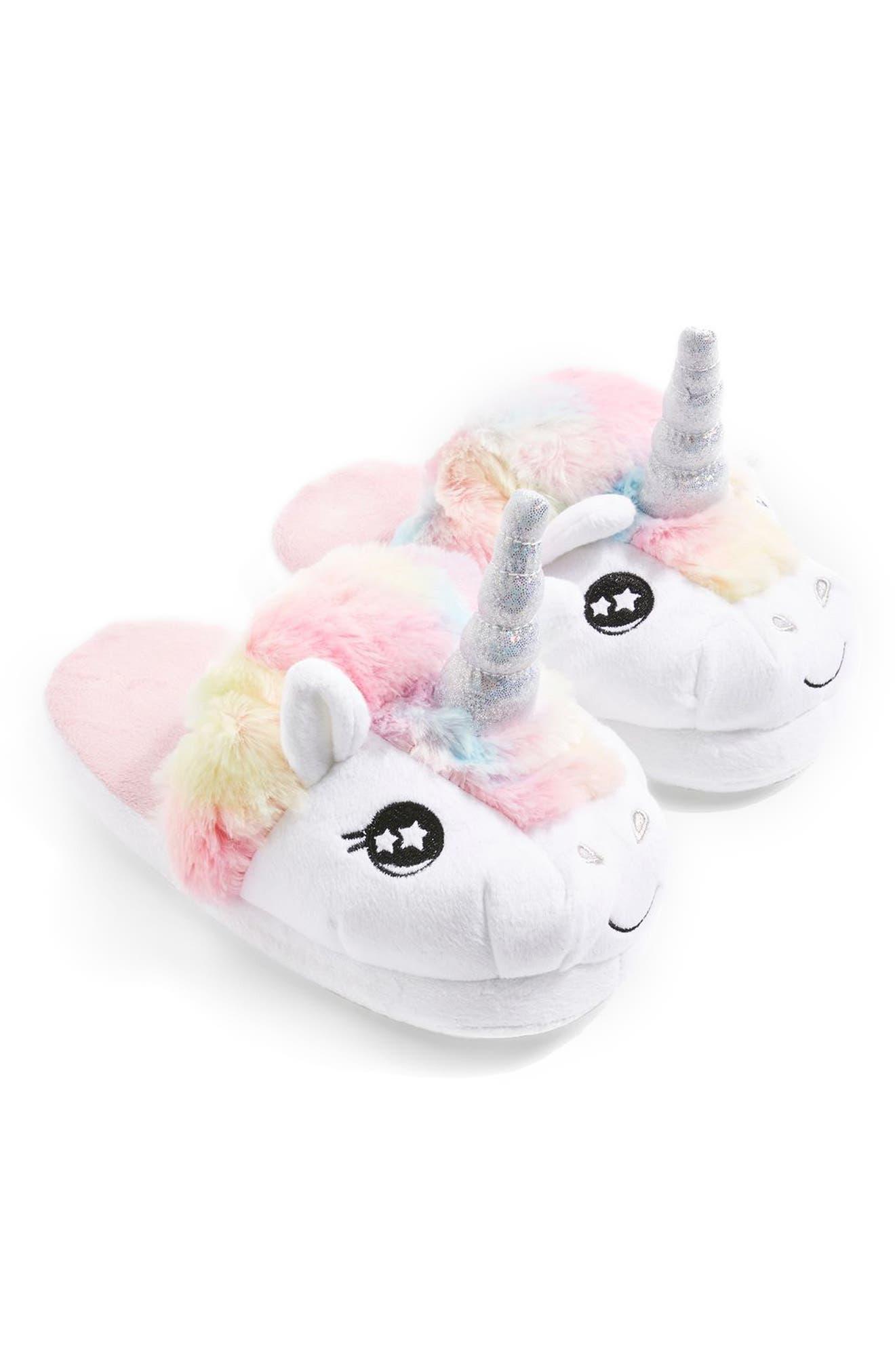 Mya Unicorn Slippers,                         Main,                         color, White Multi