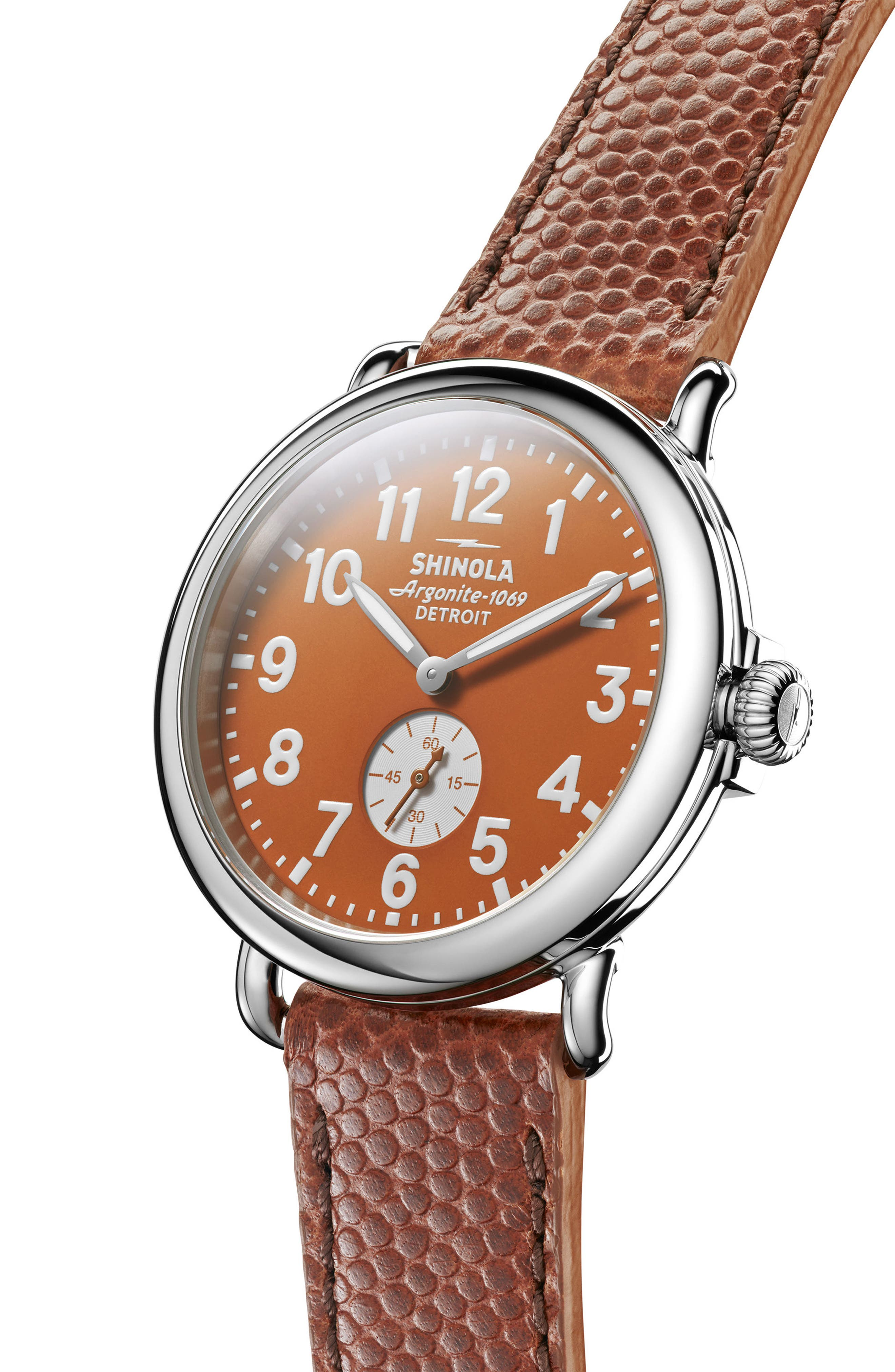 'The Runwell' Leather Strap Watch, 41mm,                             Alternate thumbnail 2, color,                             Brown/ Orange/ Silver