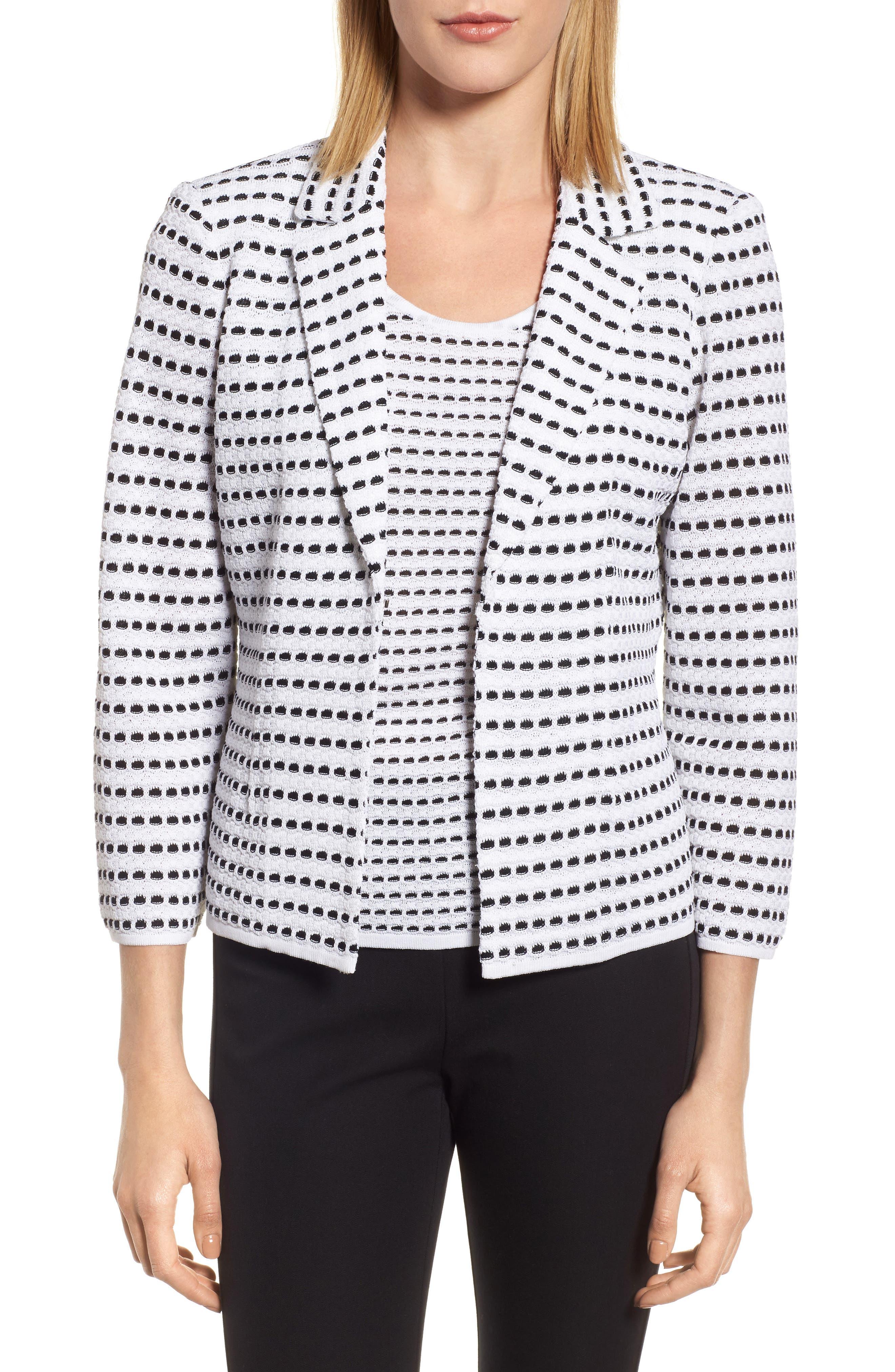 Jacquard Knit Blazer,                         Main,                         color, White/ Black