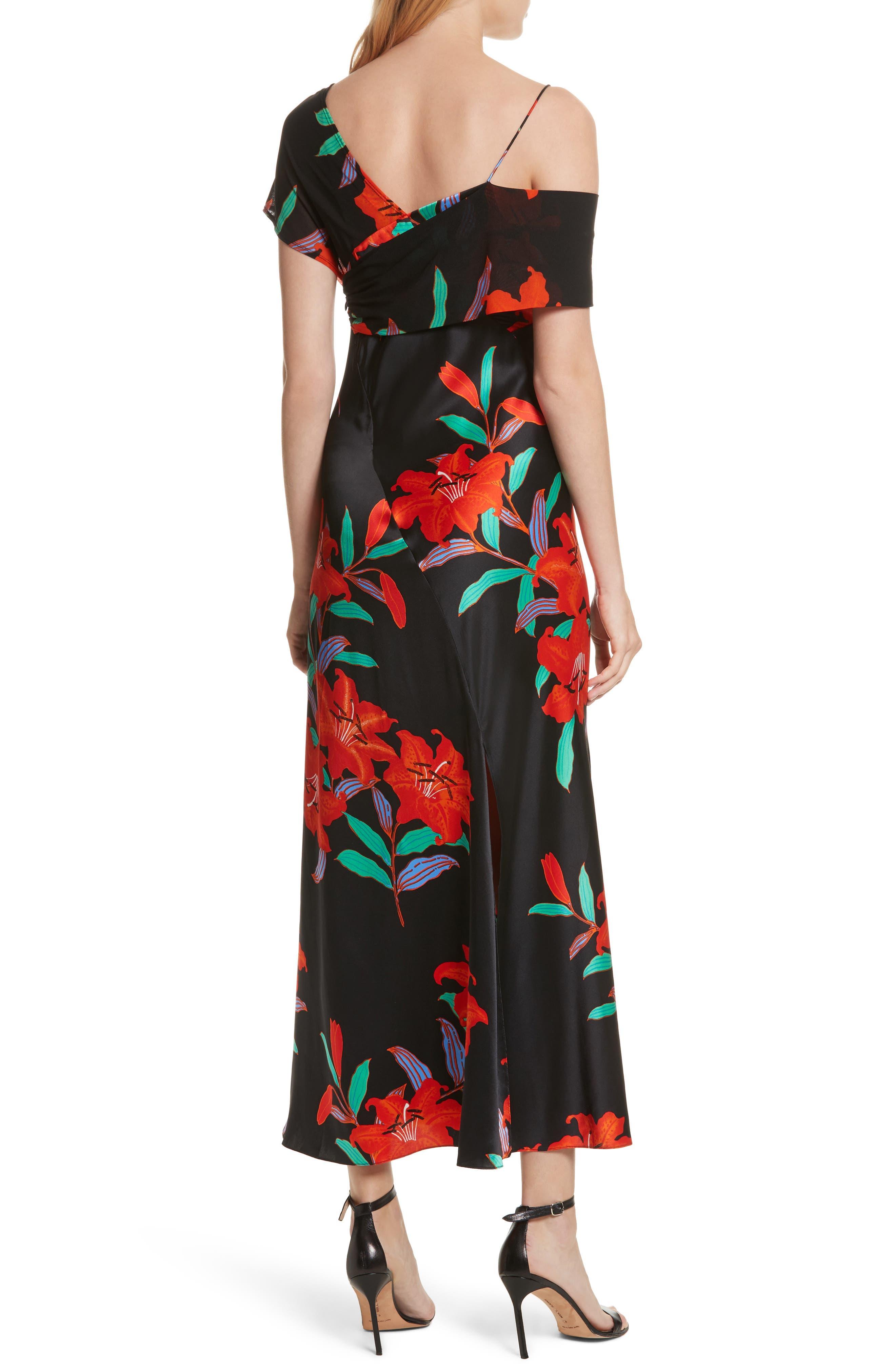 Diane von Furstenberg Asymmetrical Knotted Gown,                             Alternate thumbnail 2, color,                             Argos Black