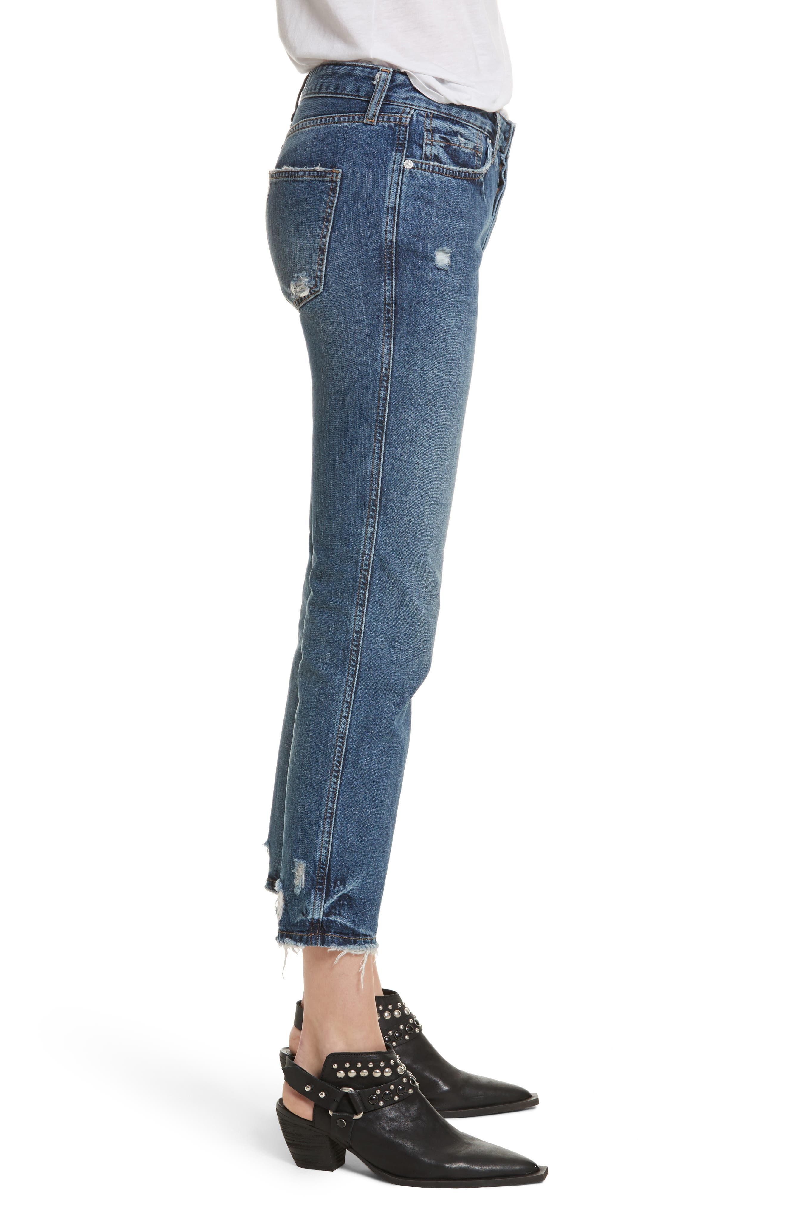 Slim Boyfriend Jeans,                             Alternate thumbnail 3, color,                             Blue