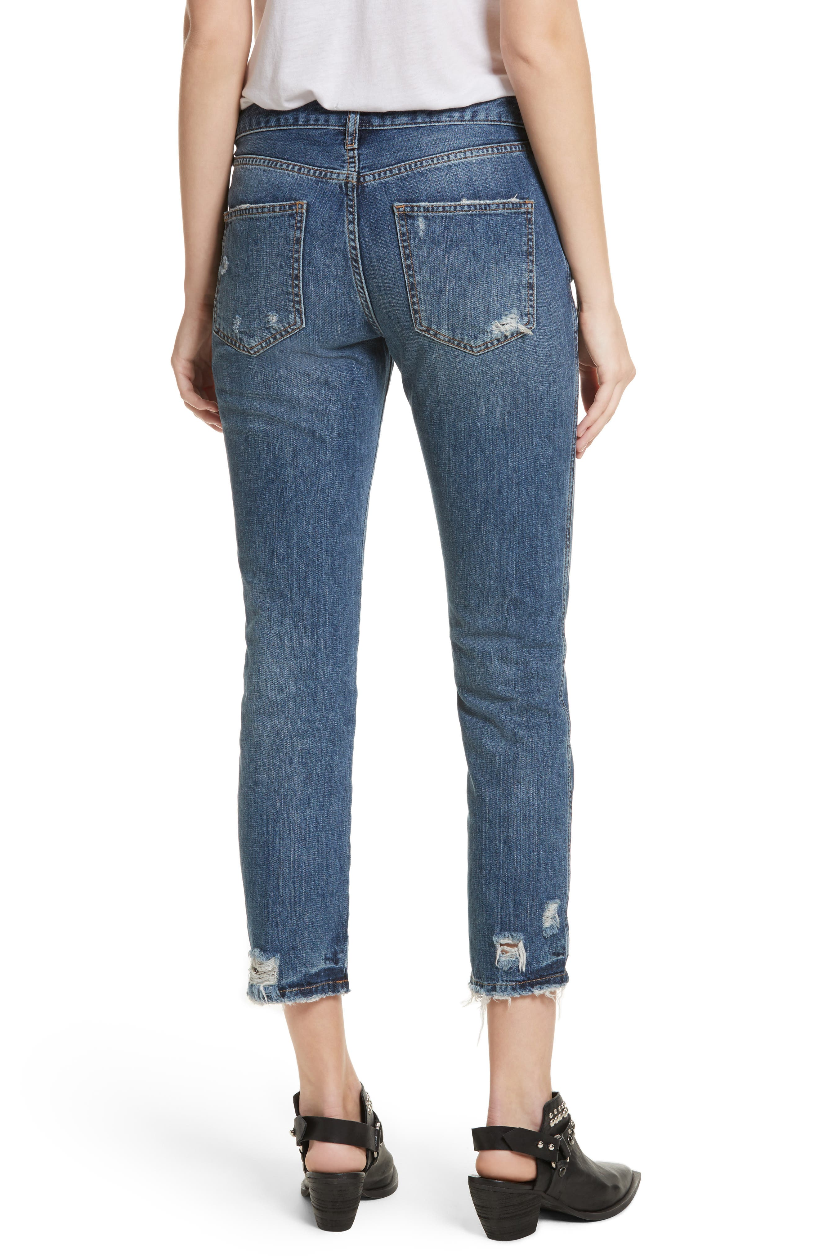 Slim Boyfriend Jeans,                             Alternate thumbnail 2, color,                             Blue