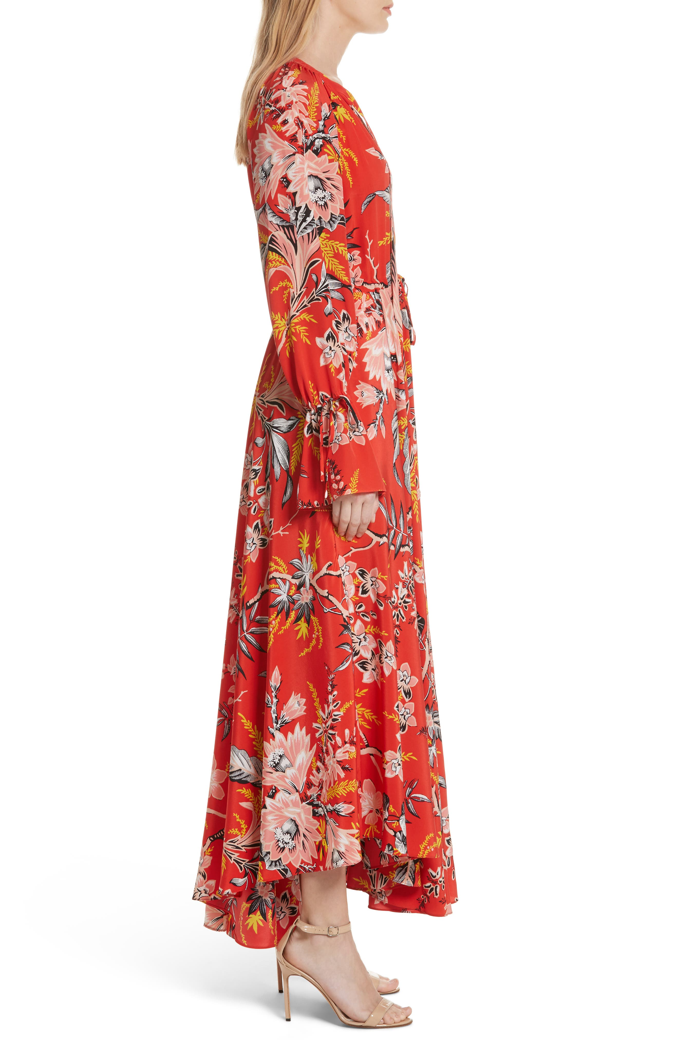 Diane von Furstenberg Floral Silk Maxi Dress,                             Alternate thumbnail 5, color,                             Avalon Poppy