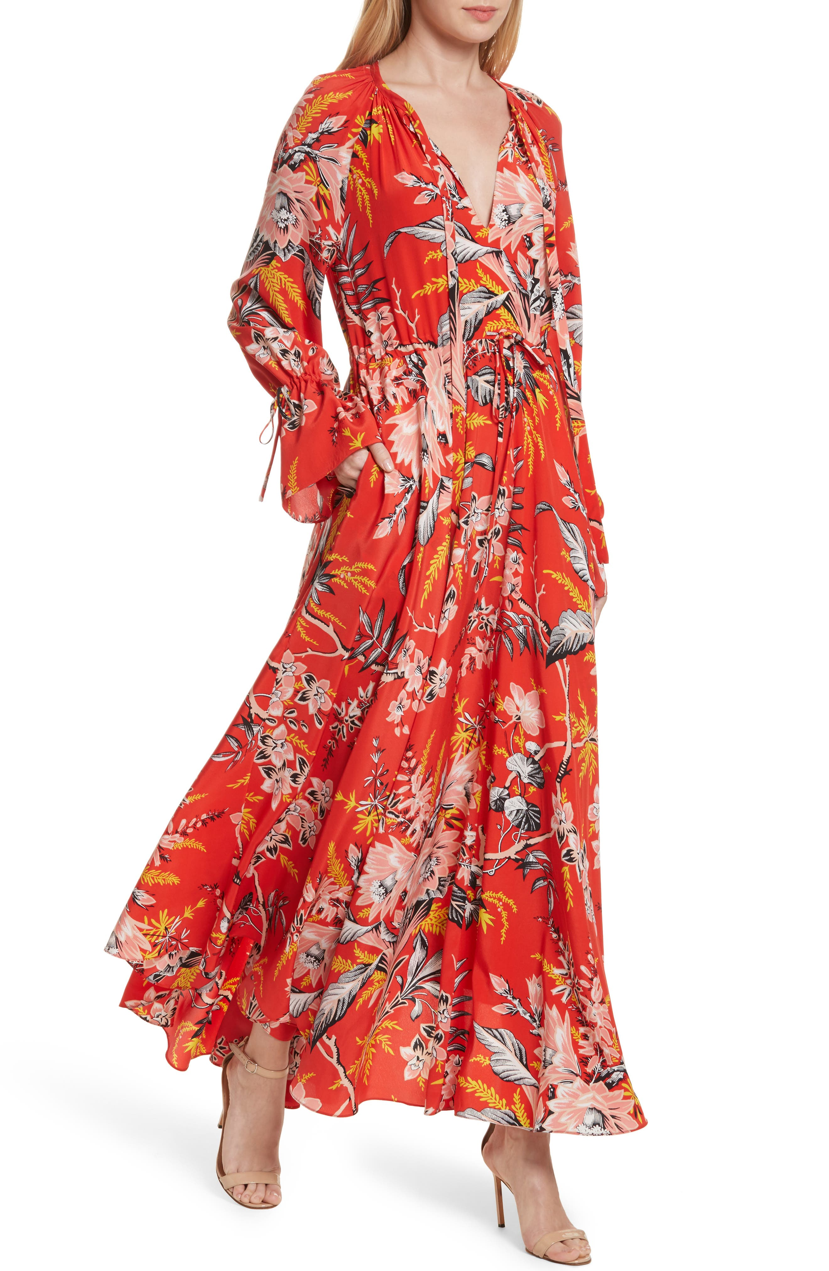 Diane von Furstenberg Floral Silk Maxi Dress,                             Alternate thumbnail 6, color,                             Avalon Poppy