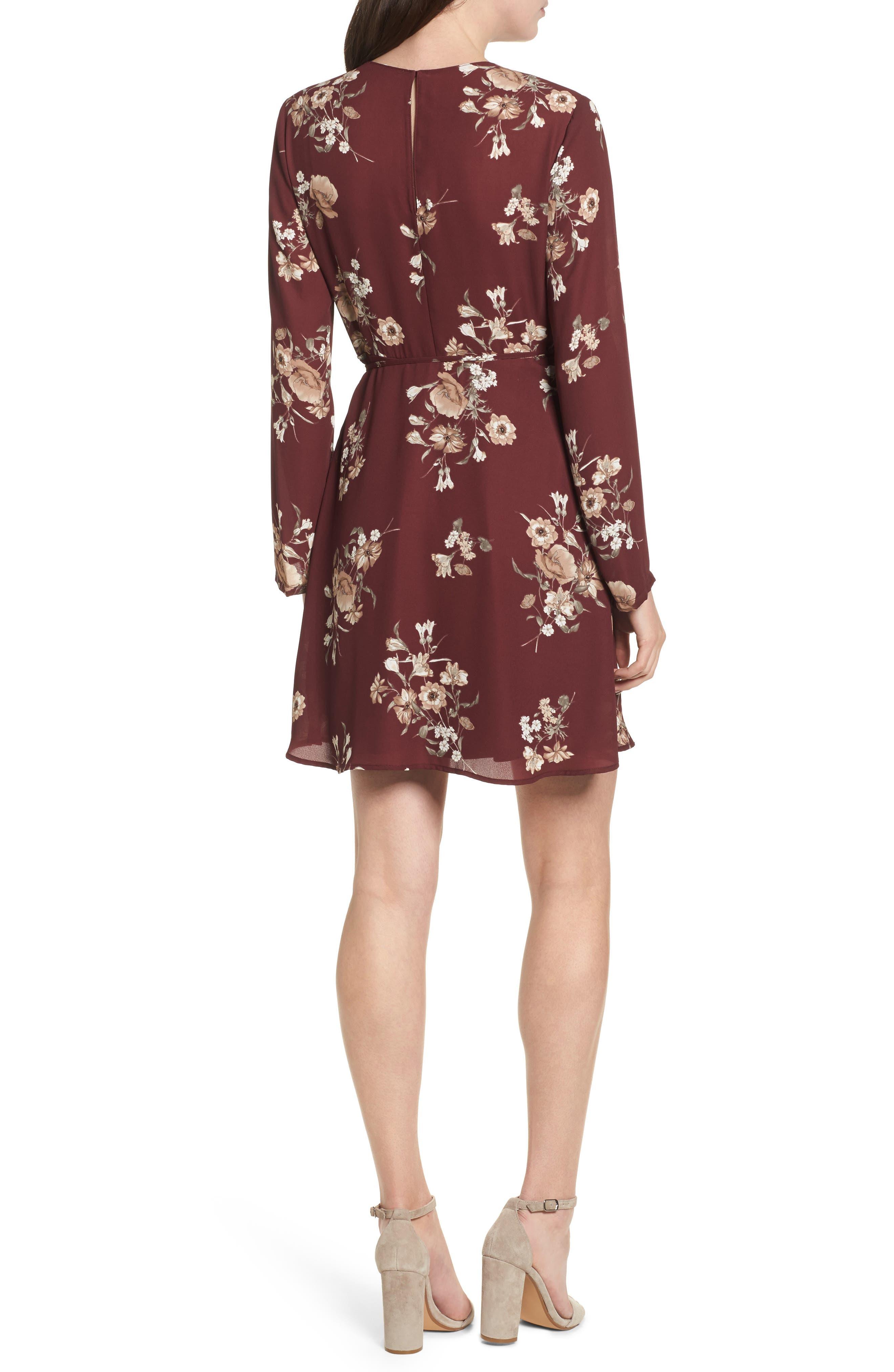 Elly Wrap Dress,                             Alternate thumbnail 2, color,                             Burgundy Floral