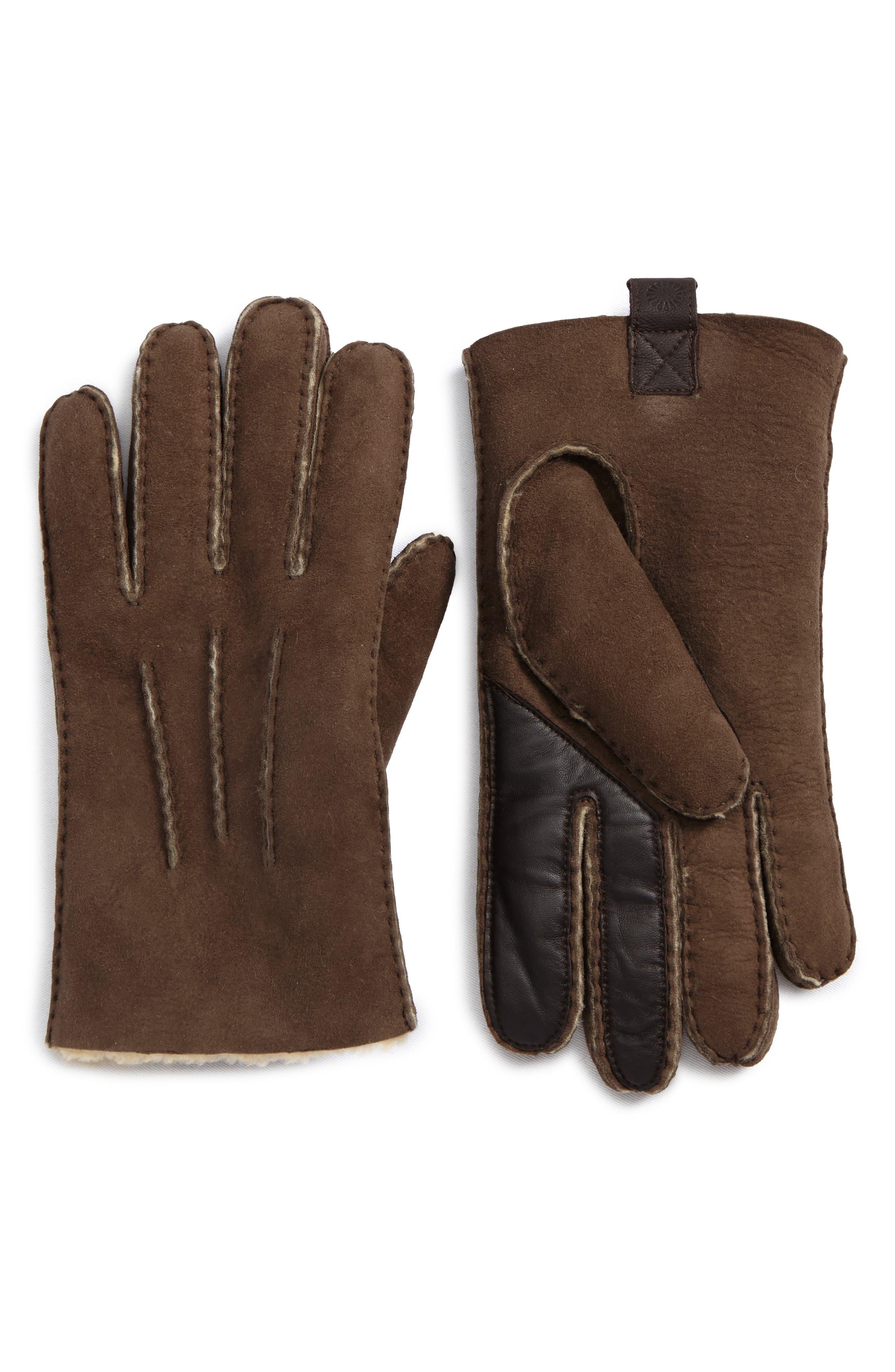 UGG Smart Sheepskin Shearling Leather Gloves,                             Main thumbnail 1, color,                             Slate Curly