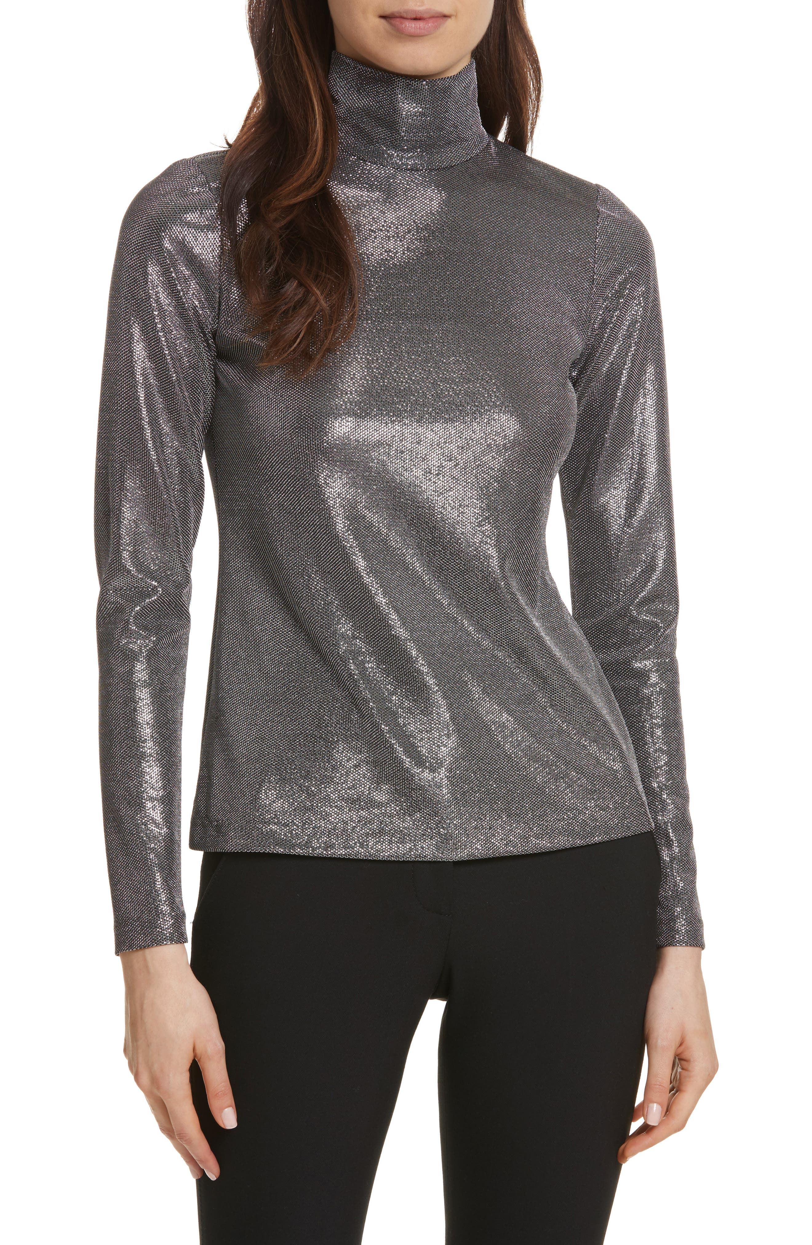 Silver Turtleneck Top,                             Main thumbnail 1, color,                             Antique Silver