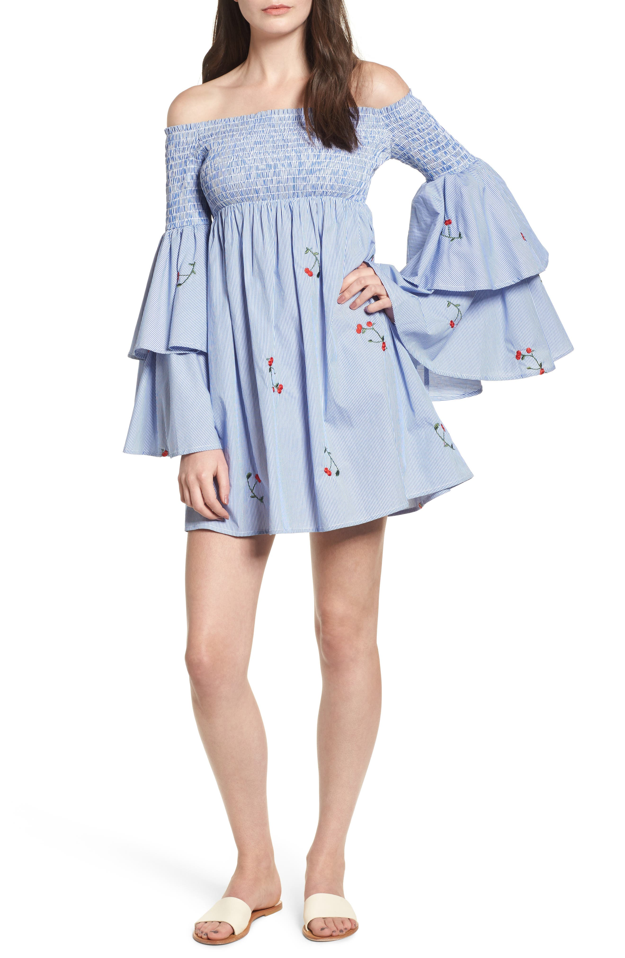 Smocked Off the Shoulder Bell Sleeve Dress,                         Main,                         color, Blue
