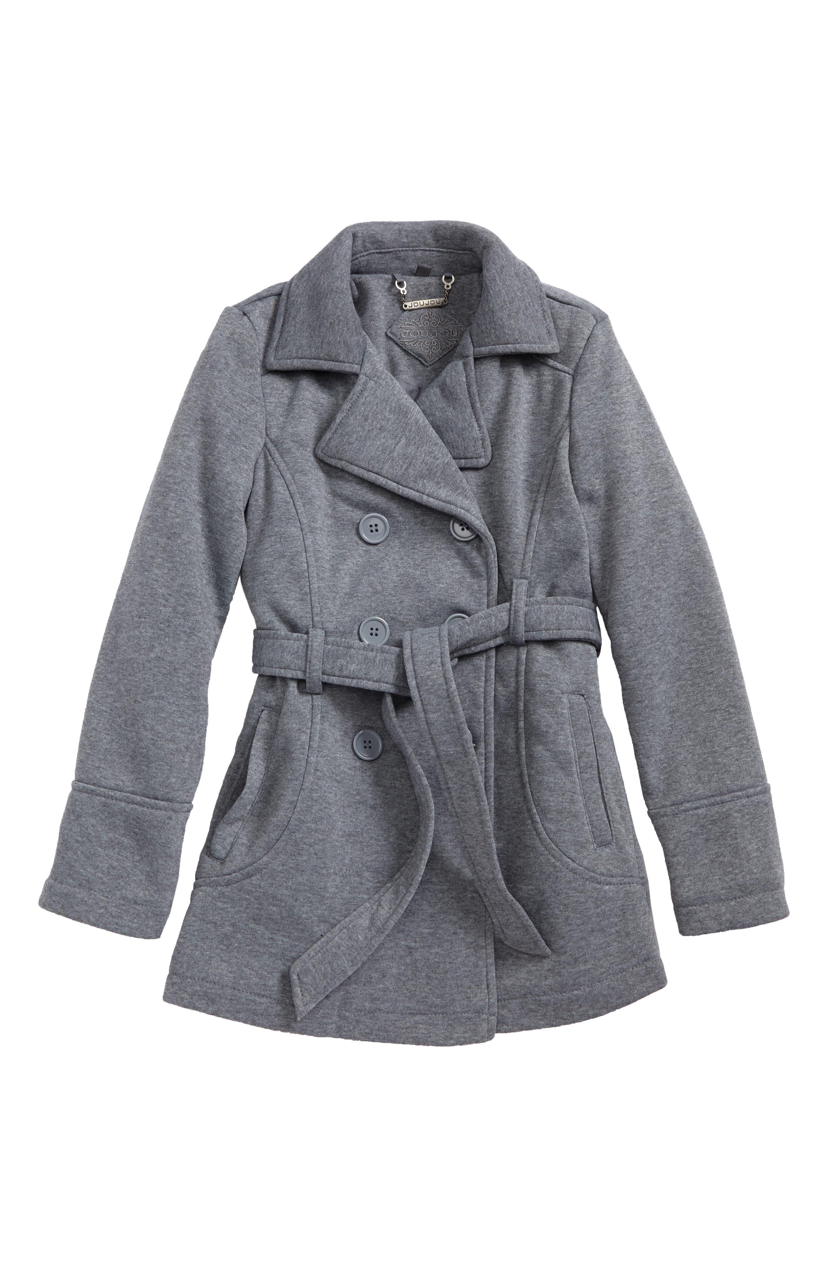 Alternate Image 1 Selected - Jou Jou Double-Breasted Coat (Big Girls)