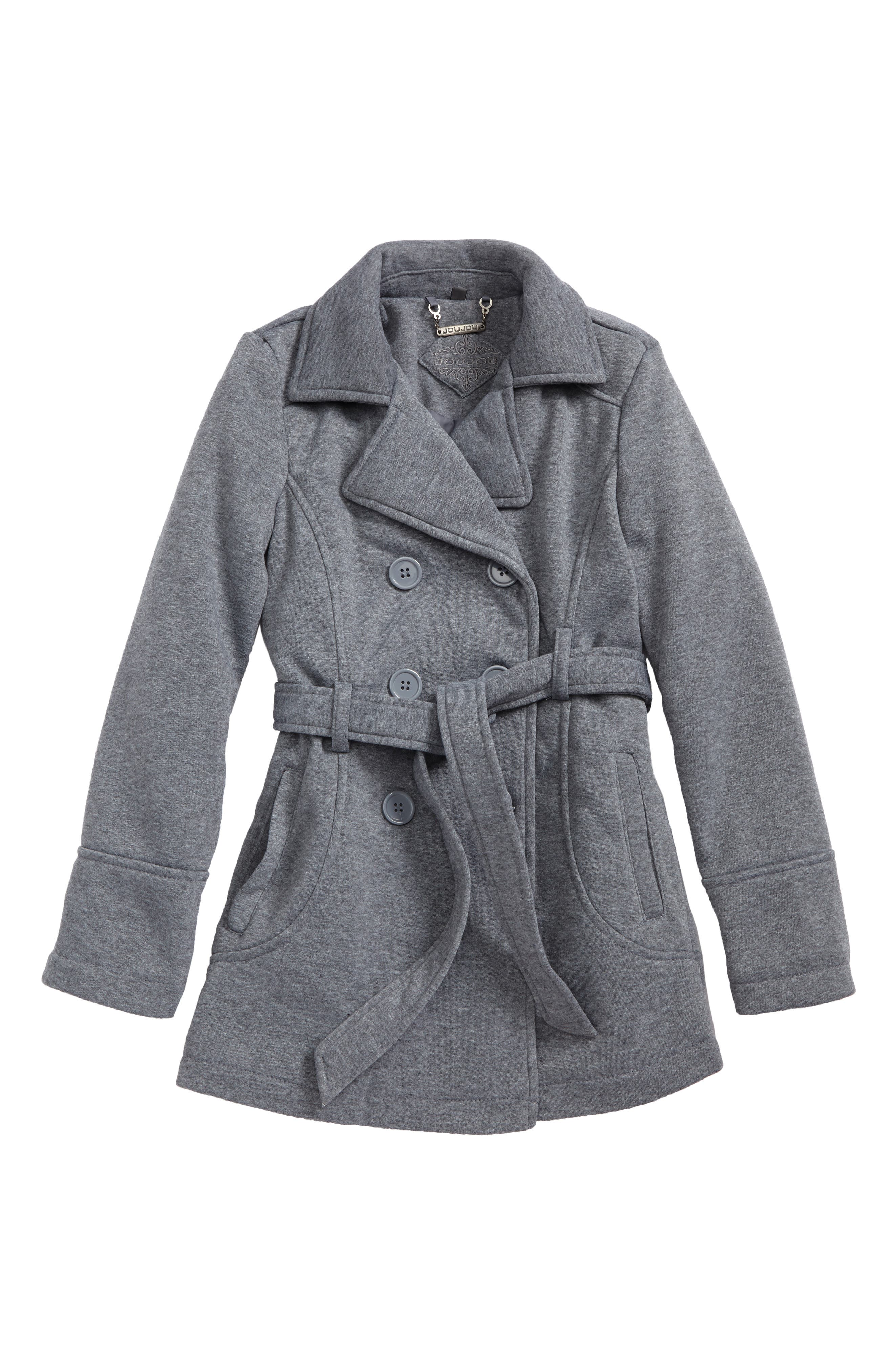Double-Breasted Coat,                         Main,                         color, Heather Grey