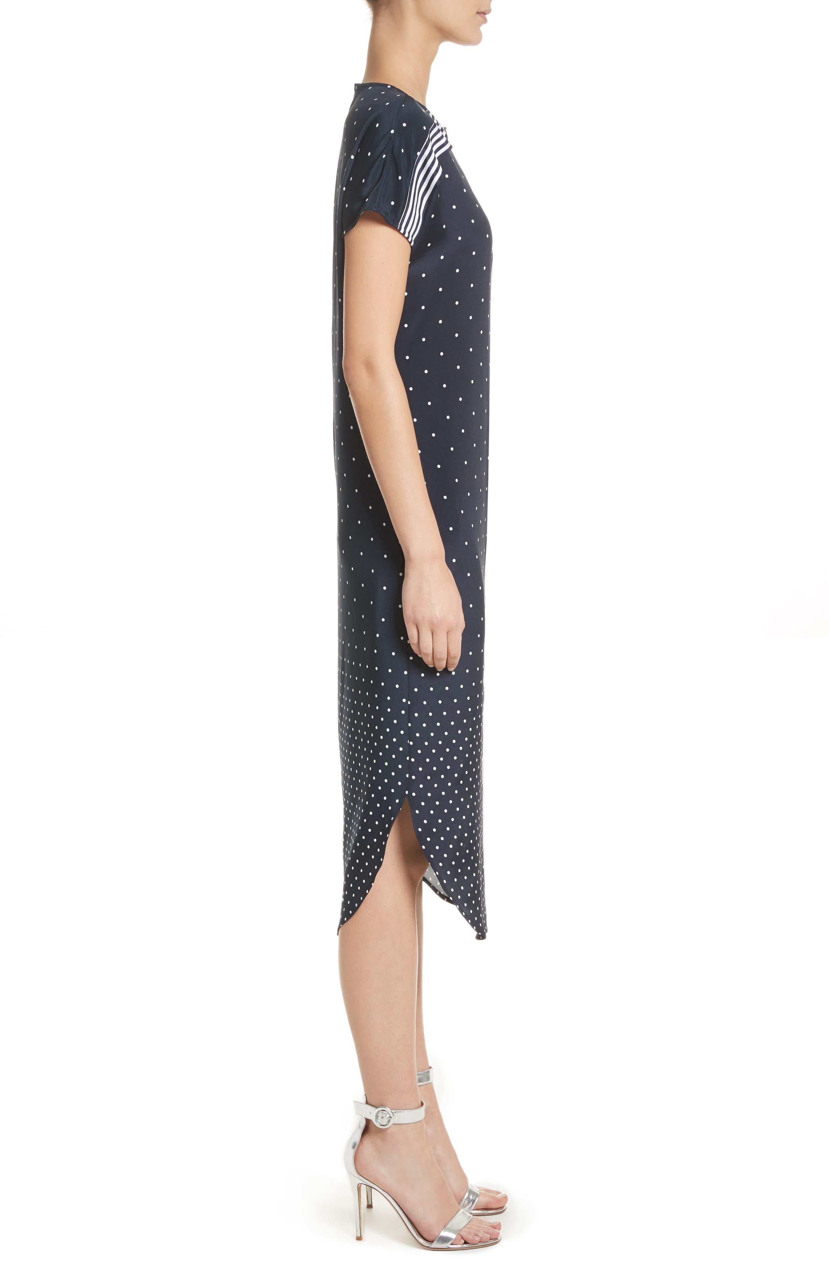 Dot & Stripe Stretch Dress,                             Alternate thumbnail 3, color,                             Navy
