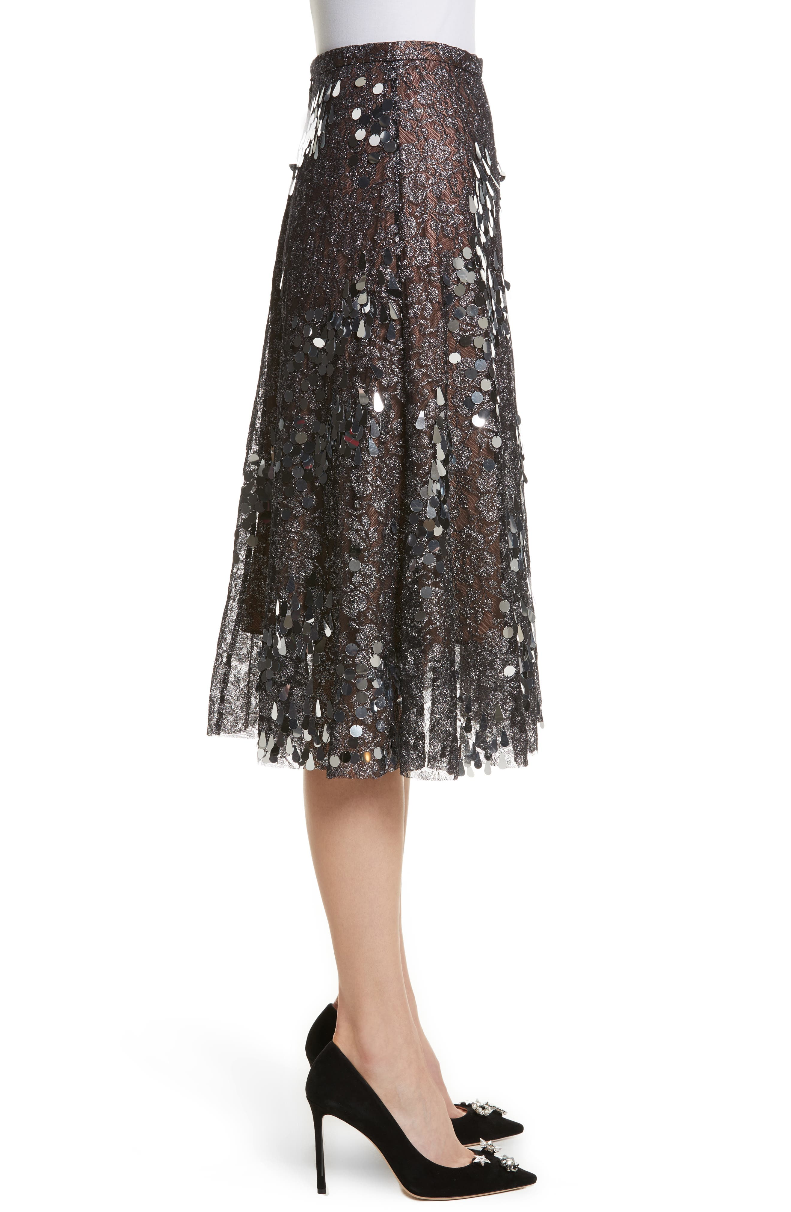Sequin Flared Skirt,                             Alternate thumbnail 3, color,                             Antique Silver