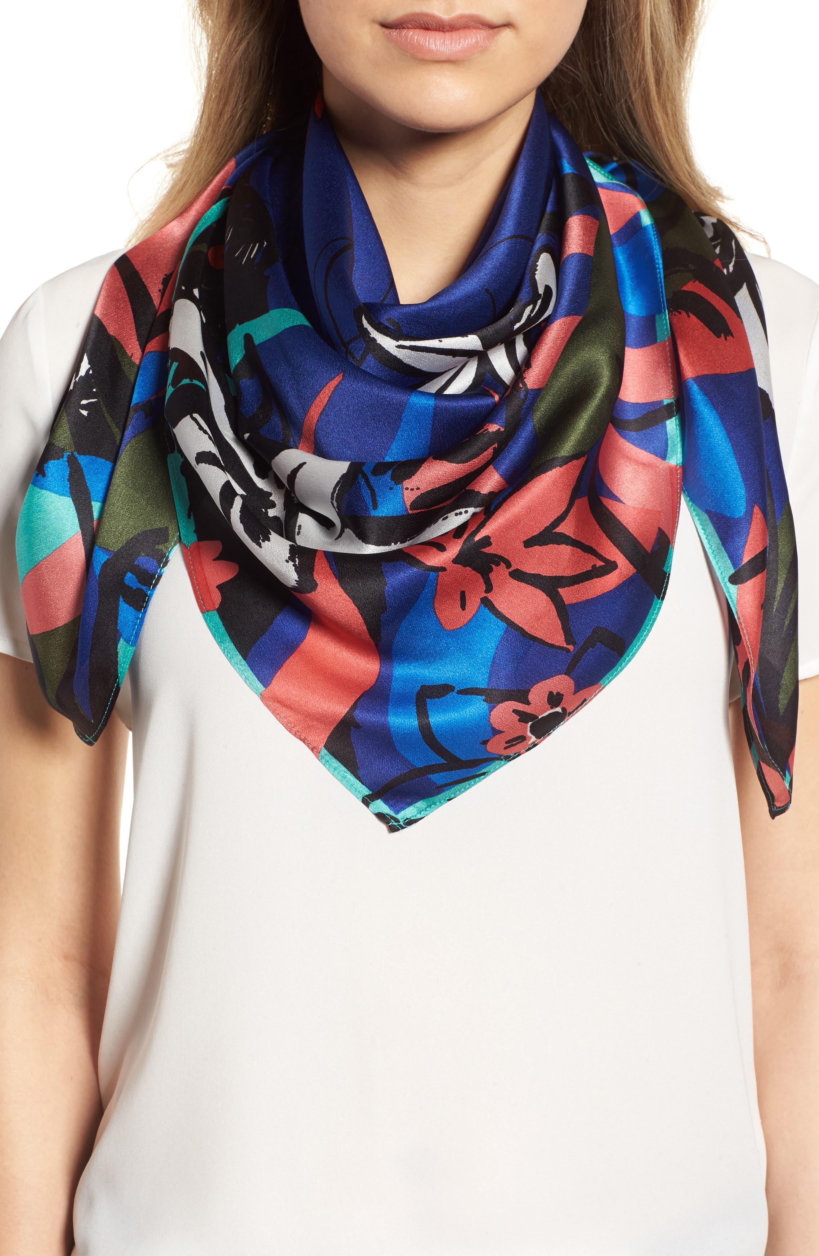 Print Silk Scarf,                         Main,                         color, Blue Modern Status