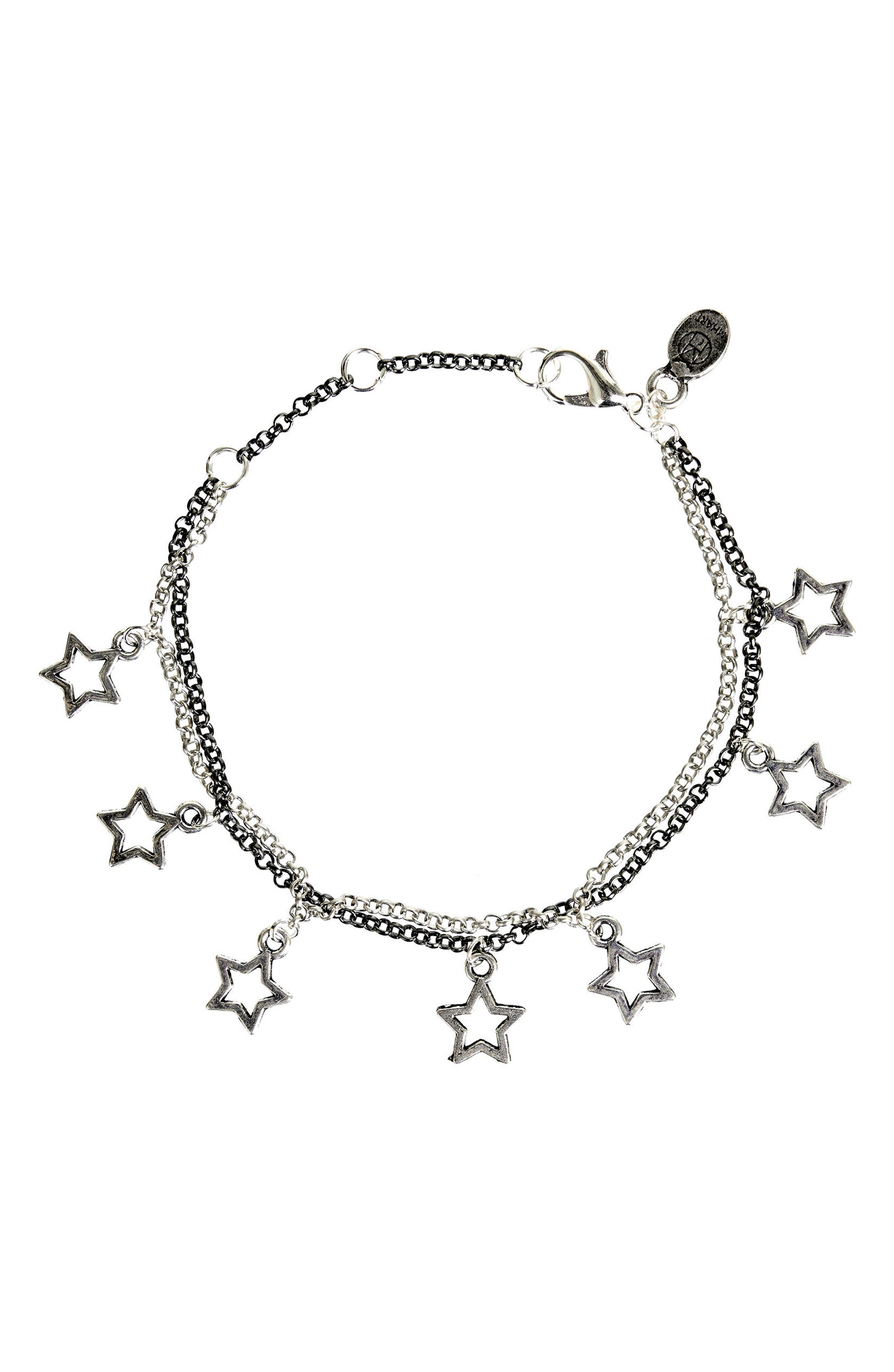 Star Charm Bracelet,                             Main thumbnail 1, color,                             Silver