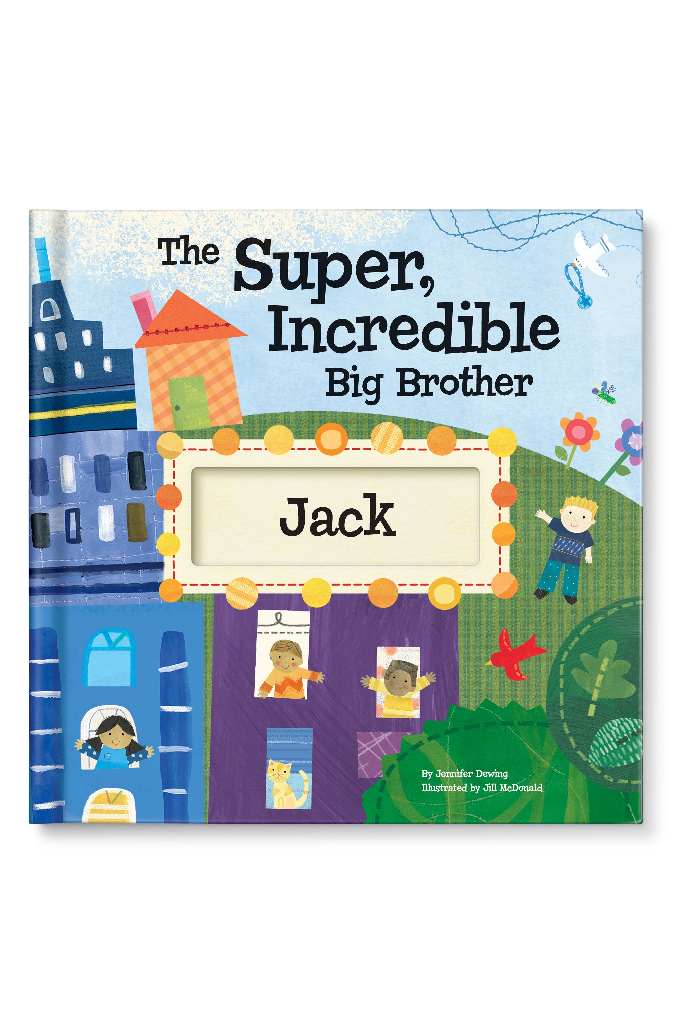 'The Super, Incredible Big Brother' Personalized Hardcover Book & Medal,                         Main,                         color, Blue