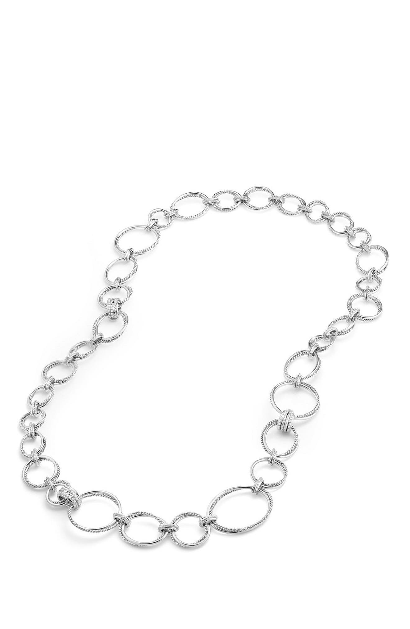 Crossover Convertible Statement Necklace with Diamonds,                             Alternate thumbnail 2, color,                             Silver