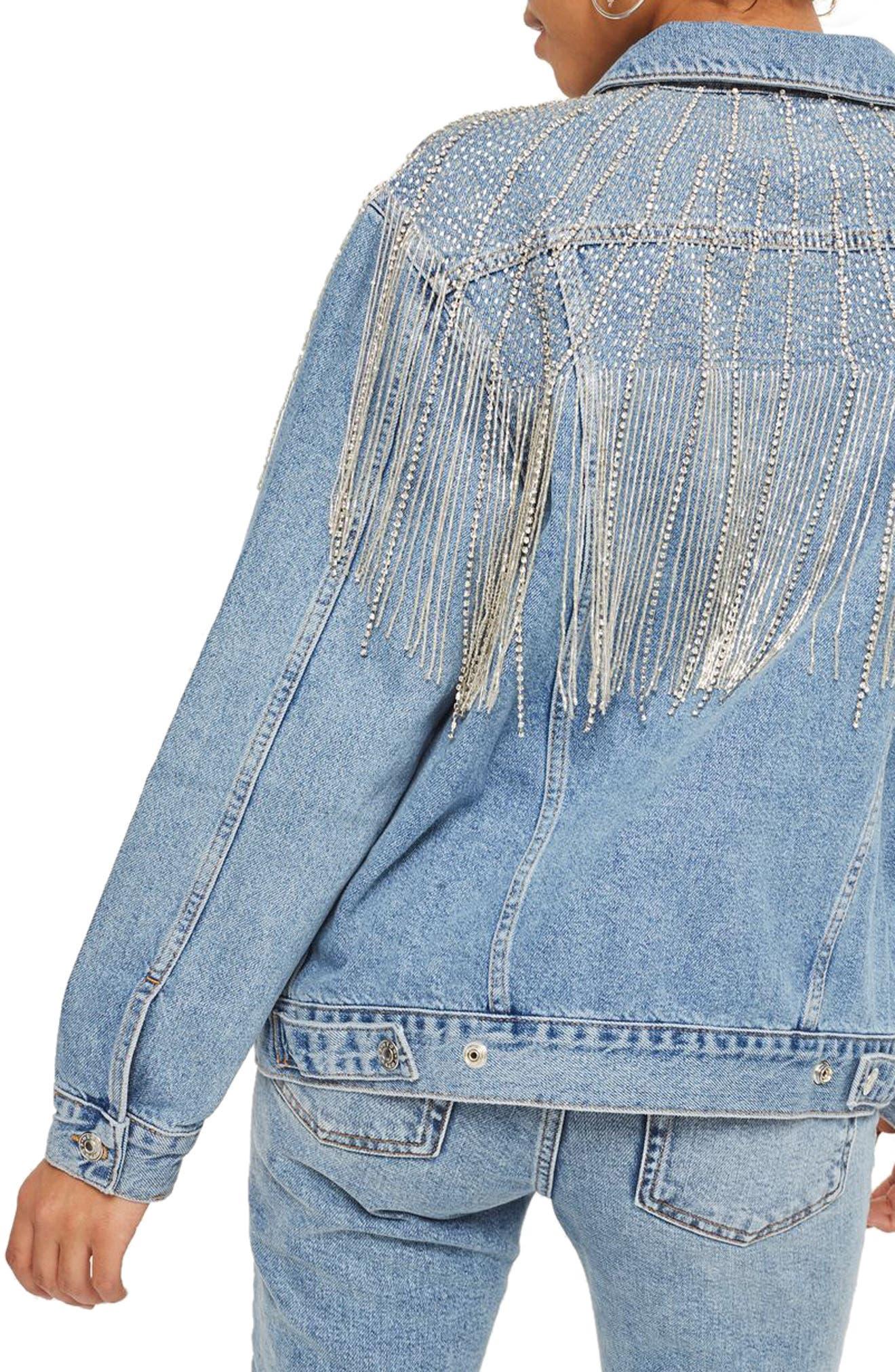 Dolly Sequin Fringe Denim Jacket,                             Alternate thumbnail 2, color,                             Mid Denim