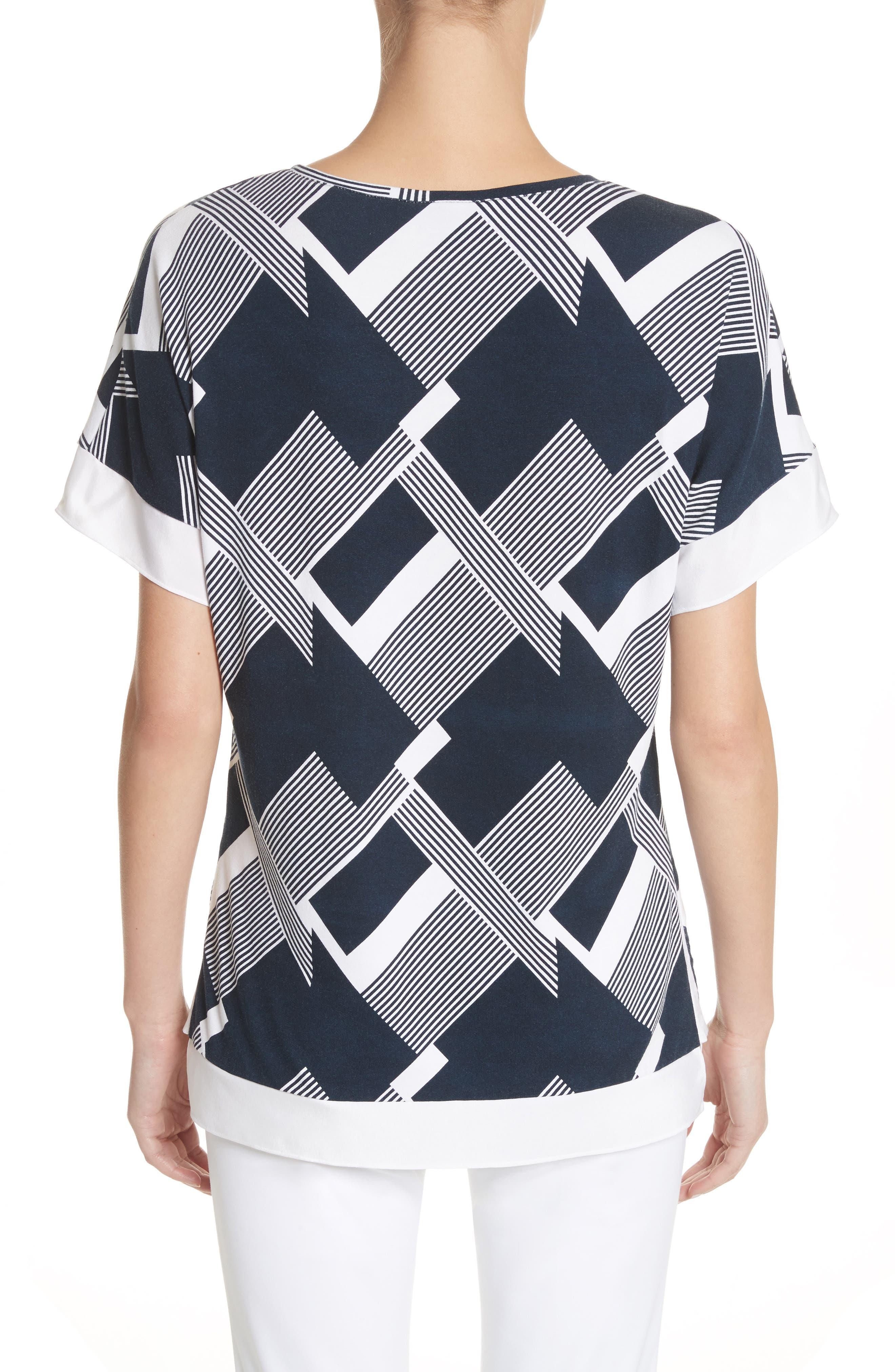 Geometric Line Print Tee,                             Alternate thumbnail 2, color,                             Navy/ Bianco
