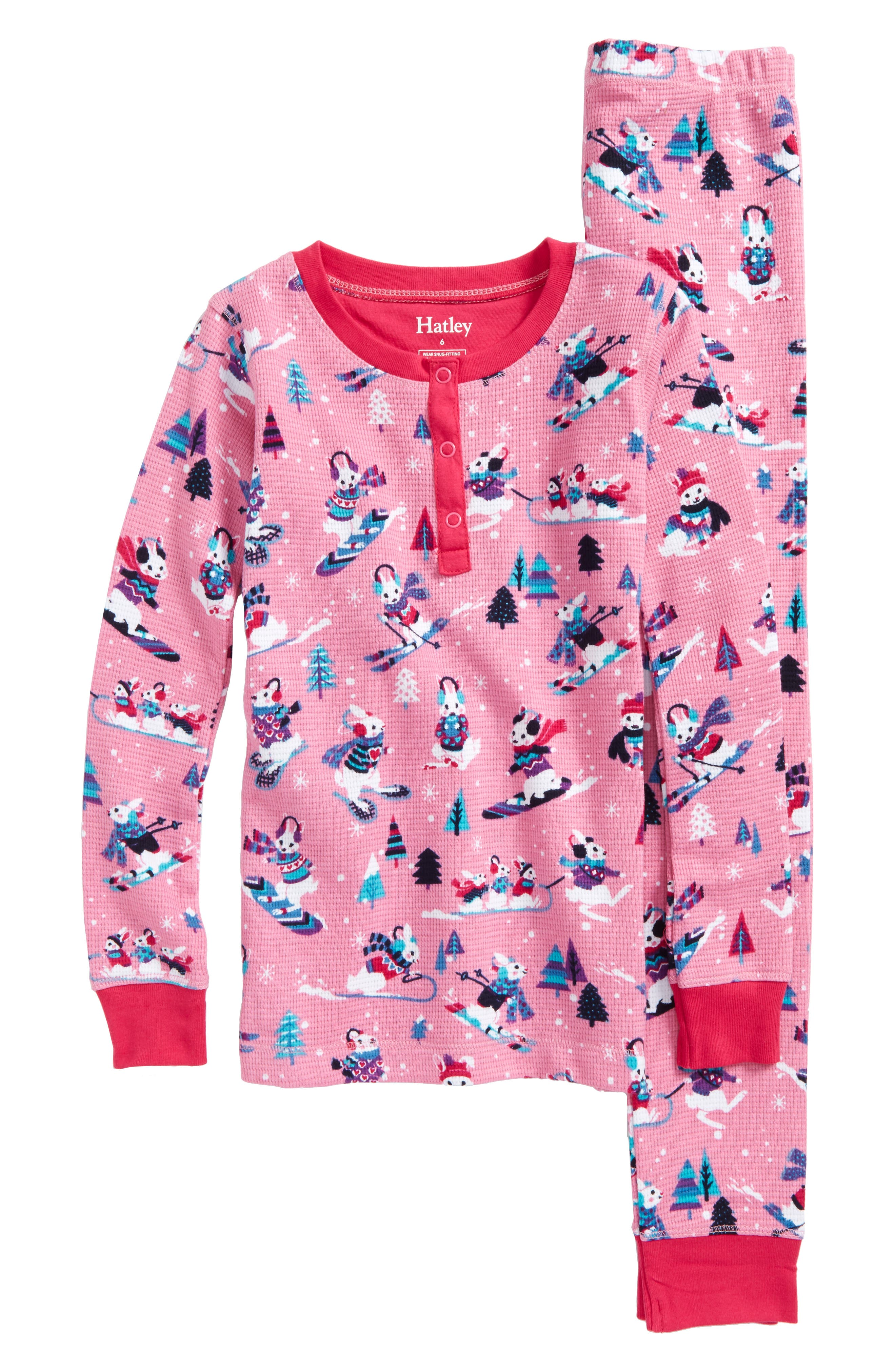 Hatley Snow Bunnies Fitted Two-Piece Pajamas (Toddler Girls, Little Girls & Big Girls)