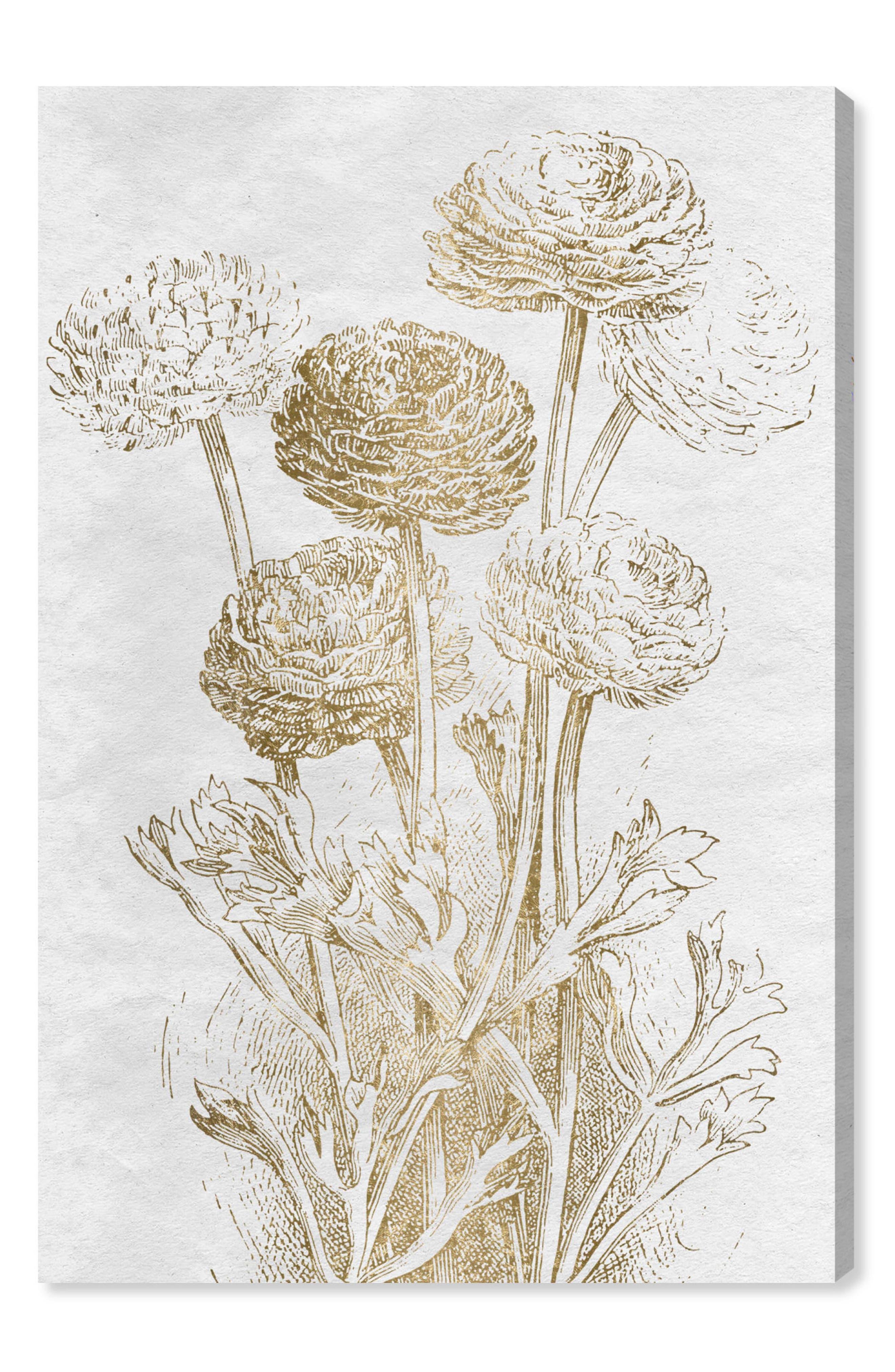 Dahlia Sketch Gold Canvas Wall Art,                             Main thumbnail 1, color,                             Metallic Gold