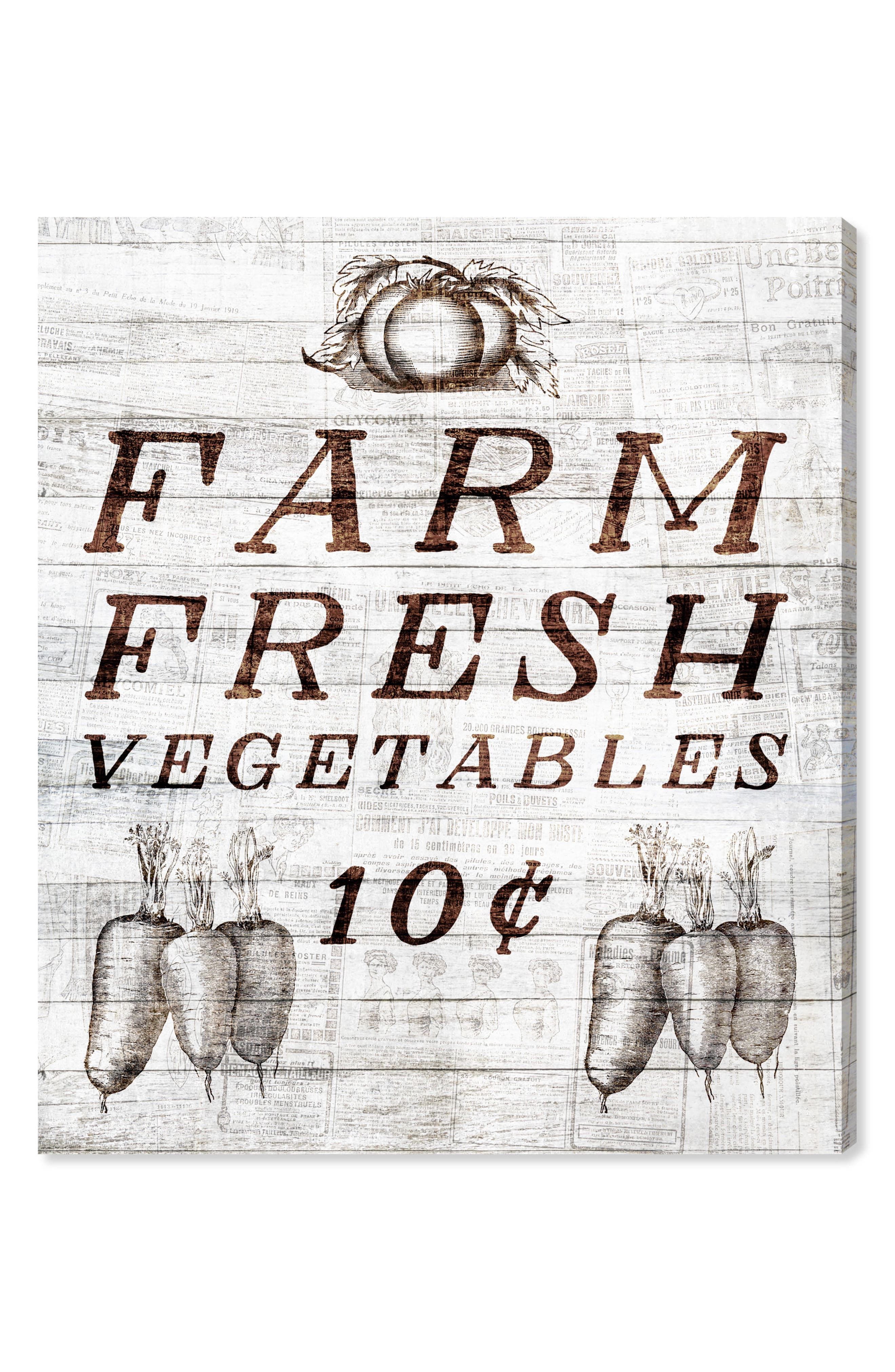 Farm Fresh Vegetables Canvas Wall Art,                         Main,                         color, Beige