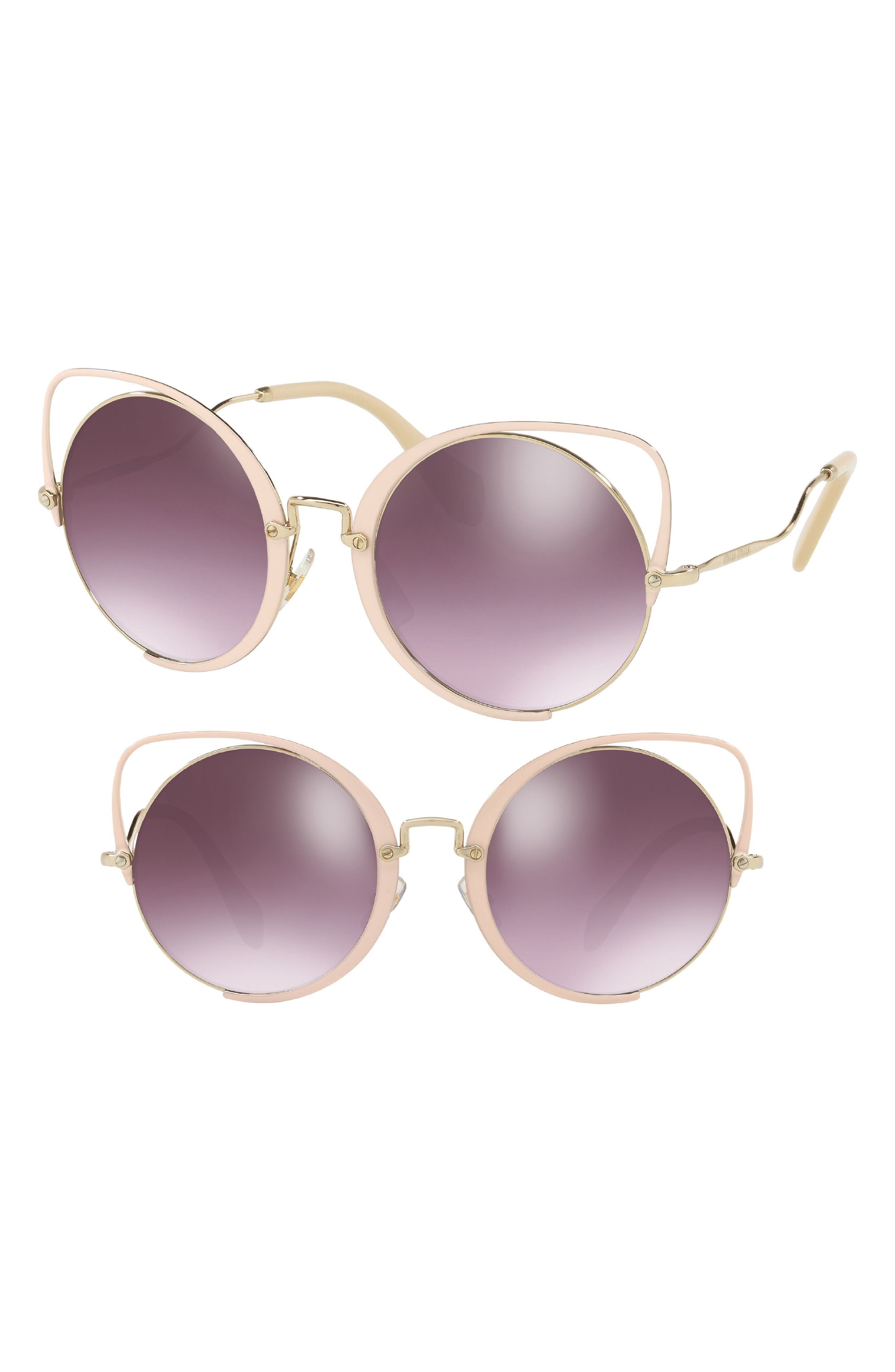 Miu Miu 54mm Round Lens Cat Eye Sunglasses