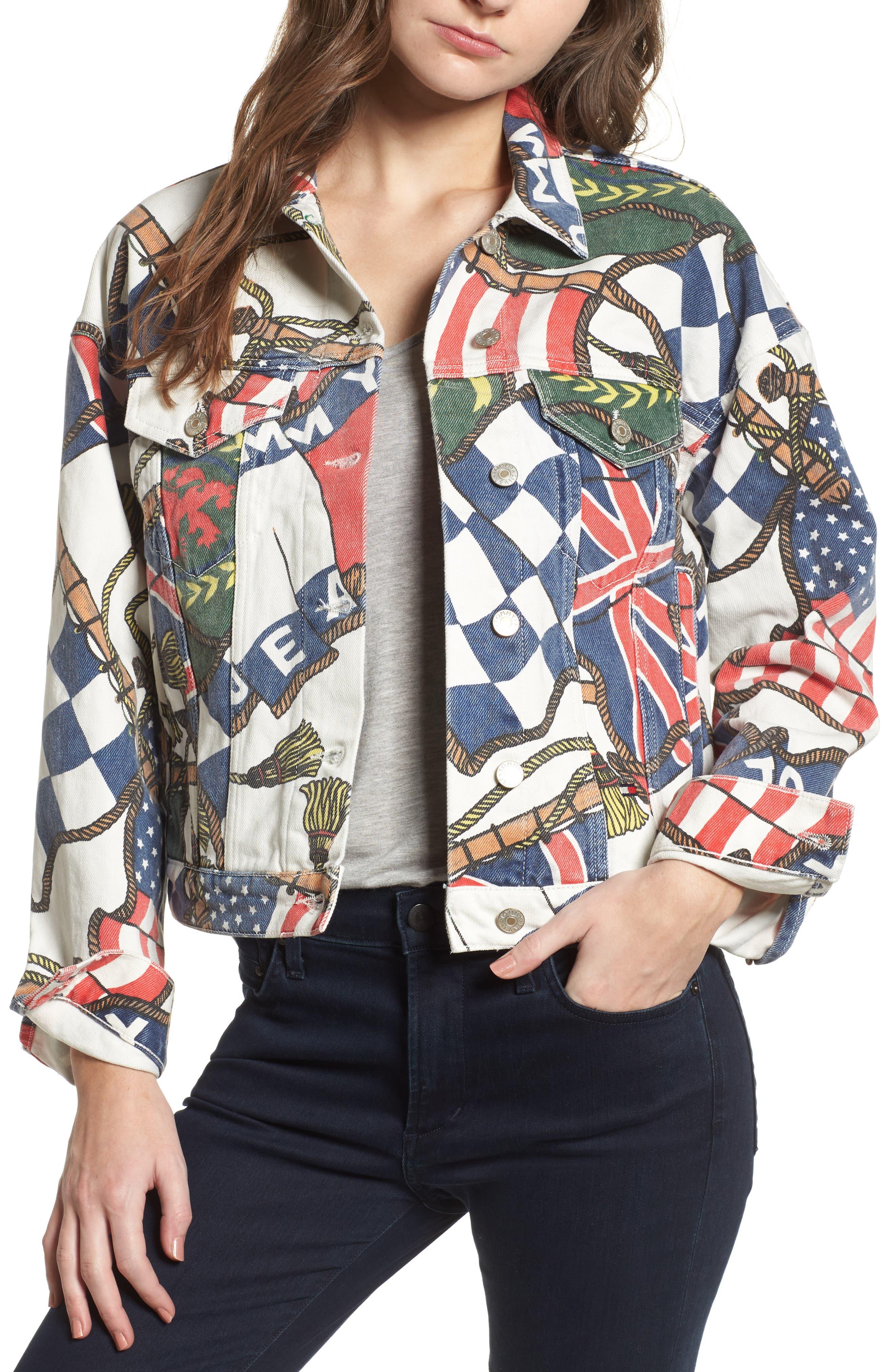 '90s Flag Print Denim Jacket,                             Main thumbnail 1, color,                             Bright White / Multi