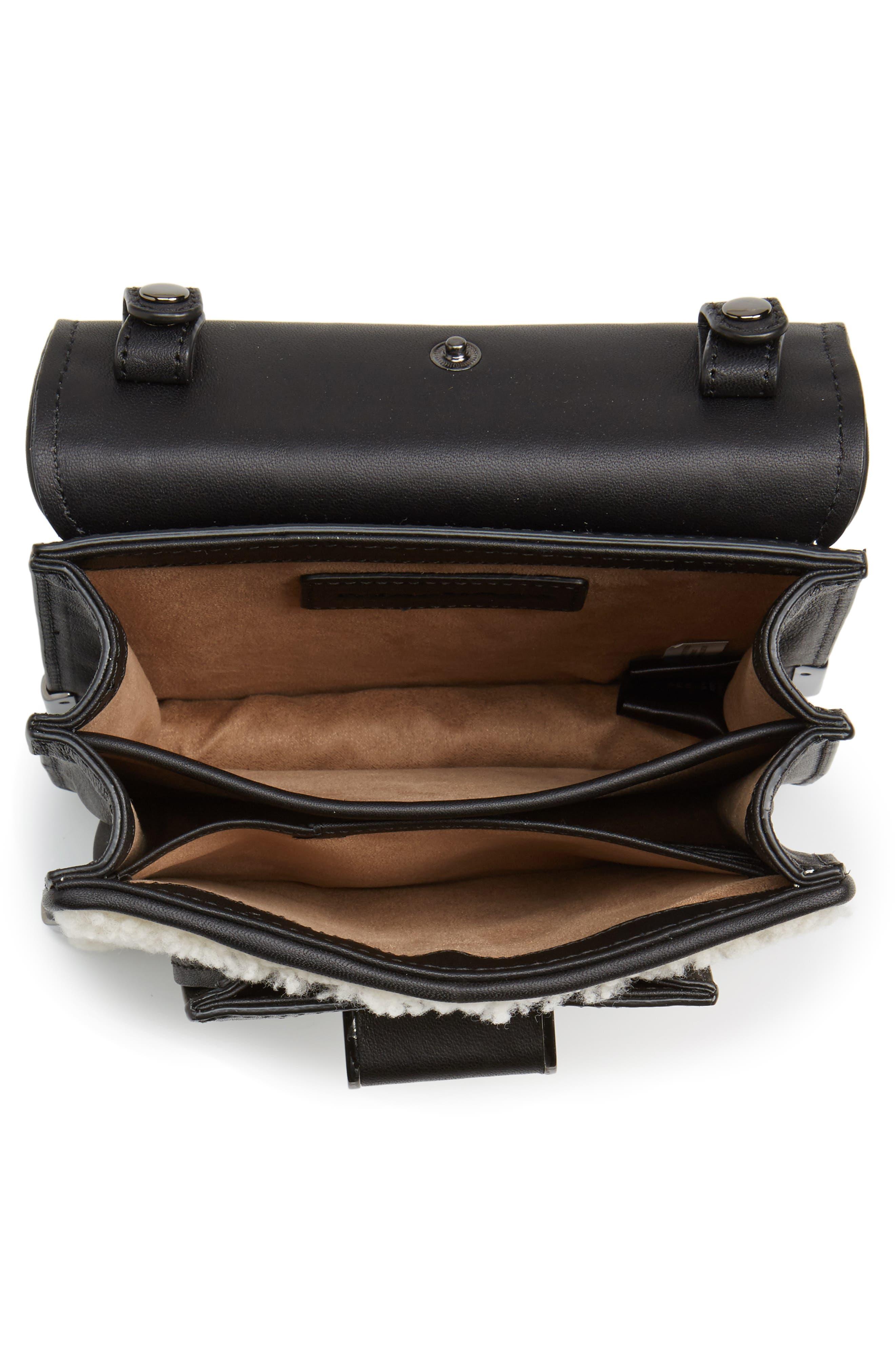 Mini Rubie Genuine Shearling Crossbody Bag,                             Alternate thumbnail 4, color,                             Black/ Cream