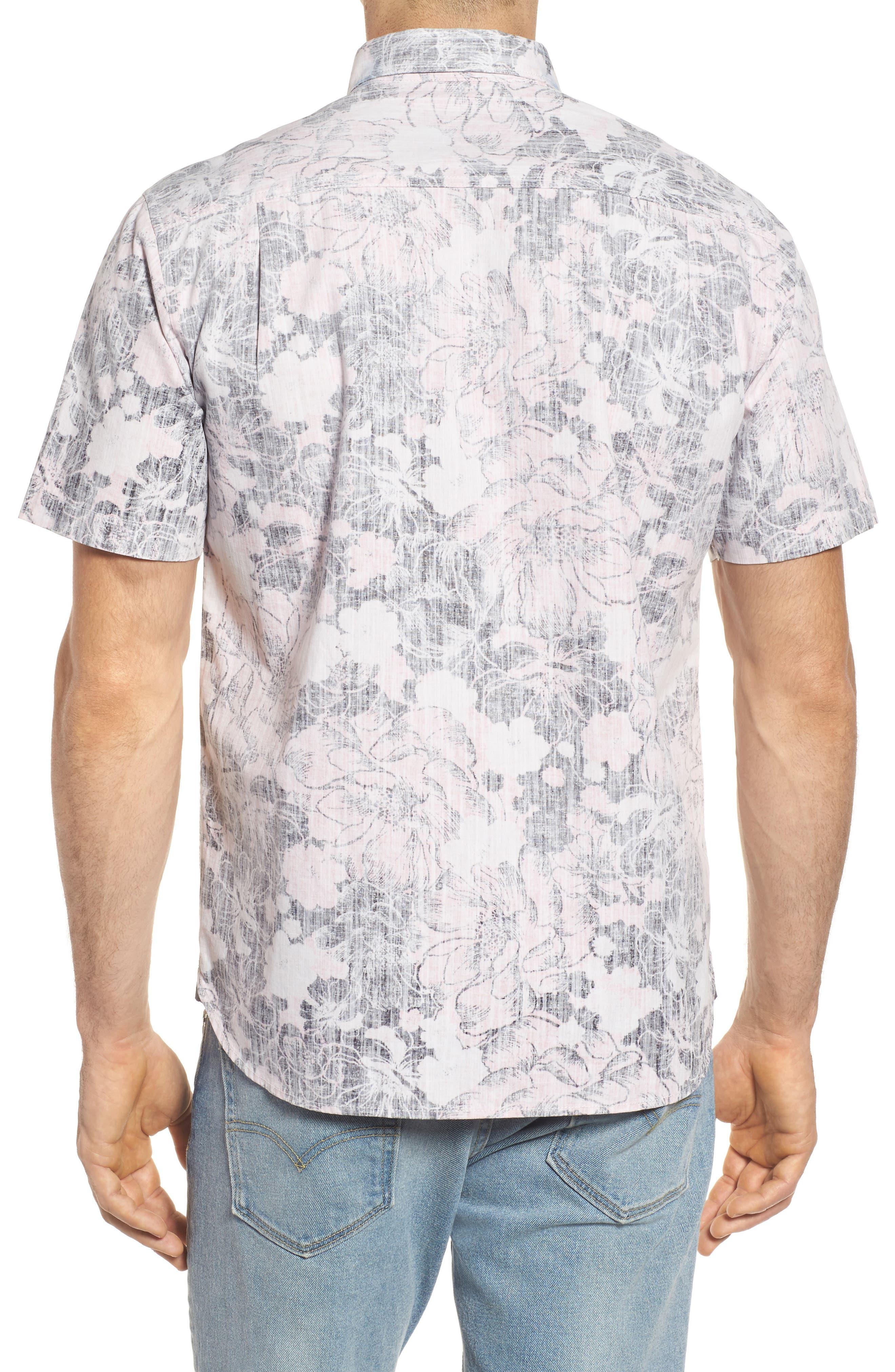Seaspray Floral Sport Shirt,                             Alternate thumbnail 2, color,                             Soft Flamingo
